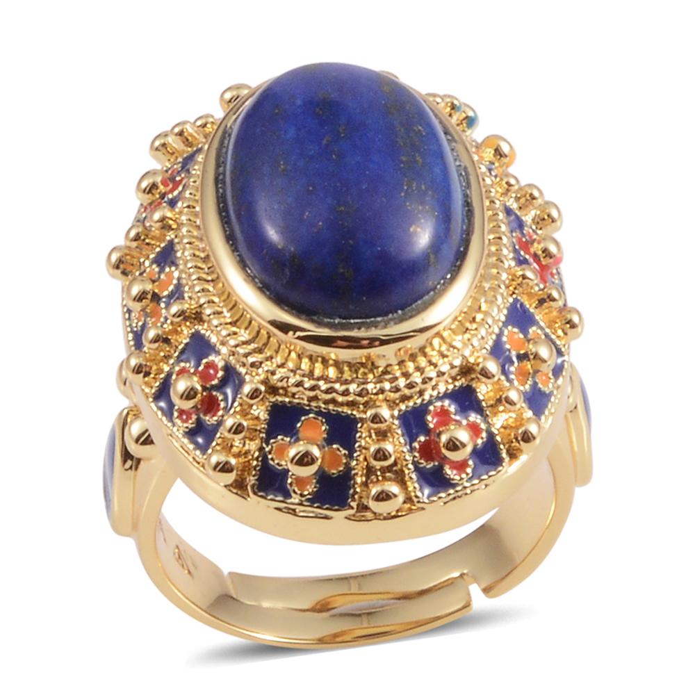 Lapis Lazuli Goldtone Statement Ring
