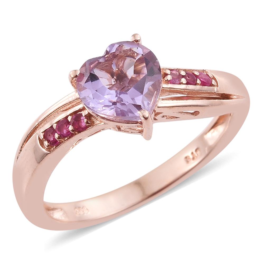 Rose De France Amethyst, Ruby 14K RG Over Sterling Silver Heart Ring