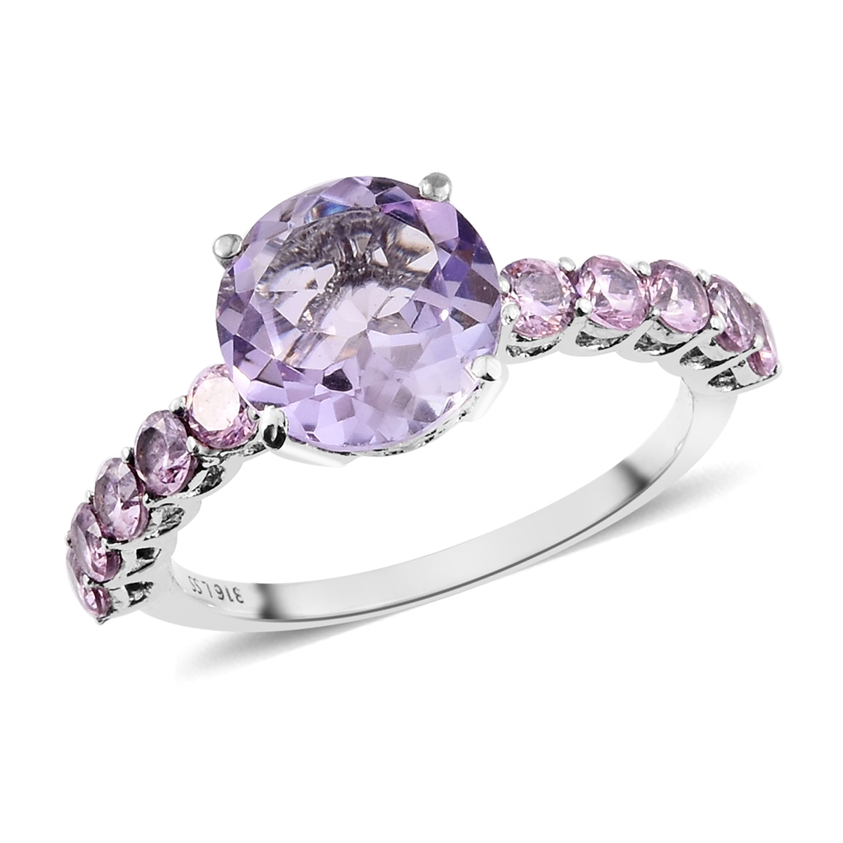 Rose De France Amethyst, Simulated Pink Diamond Stainless Steel Ring
