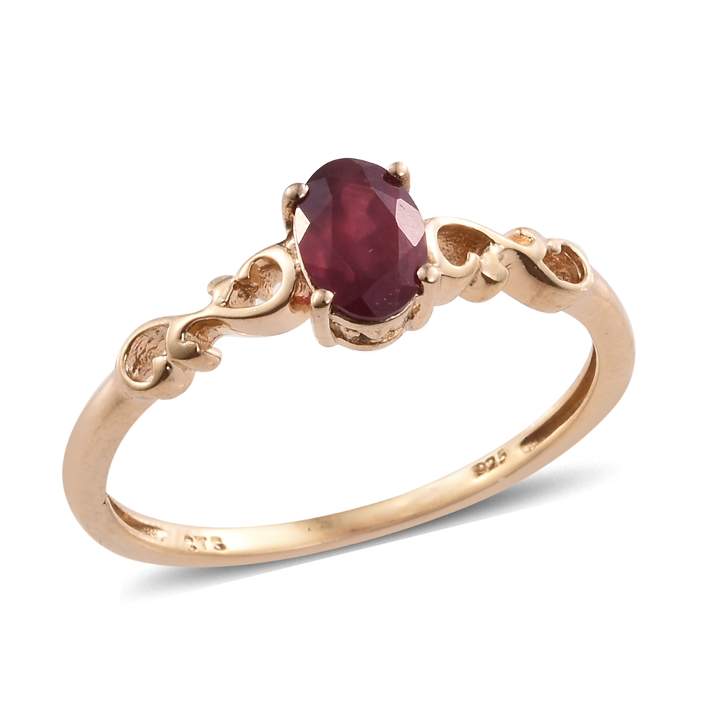 Niassa Ruby 14K YG Over Sterling Silver Solitaire Ring