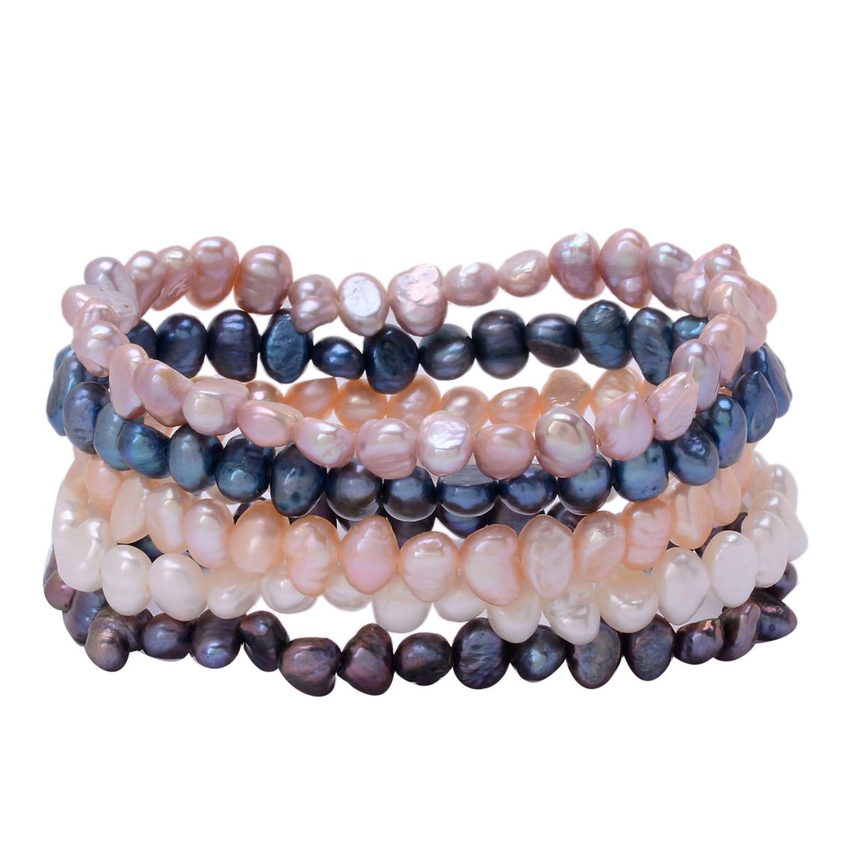 Freshwater Multi Color Pearl Set of 5 Bracelets (Stretchable)