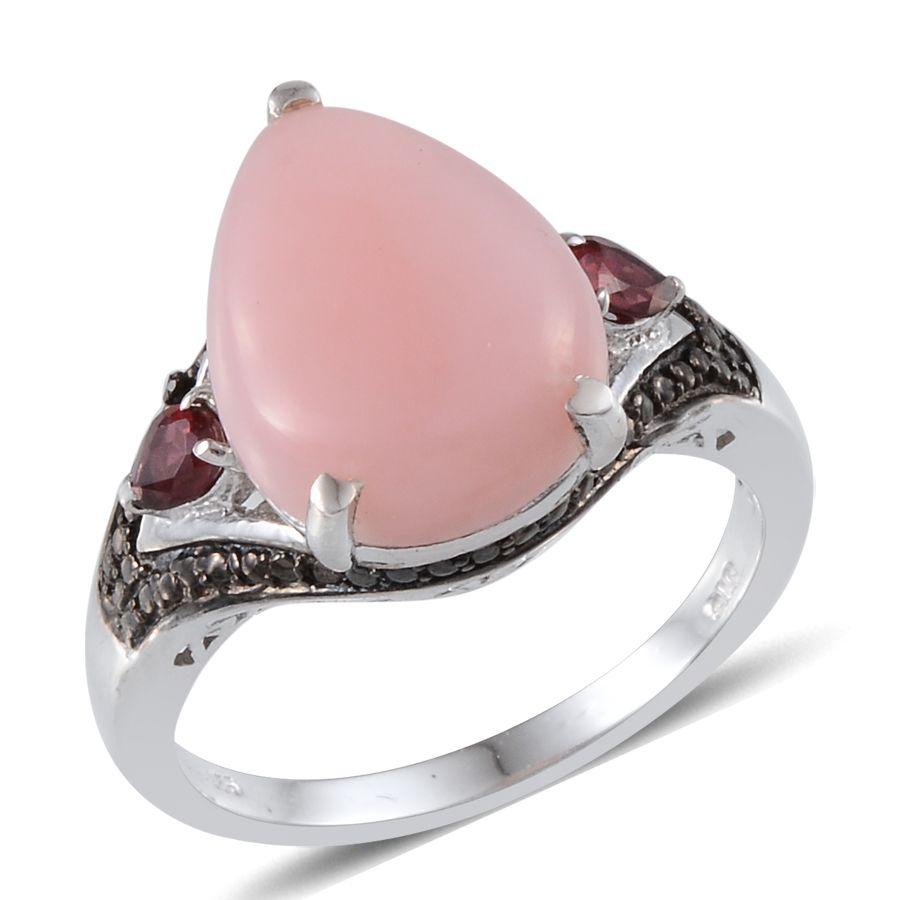 Mexican Pink Opal, Orissa Rhodolite Garnet, Black Diamond Platinum ...