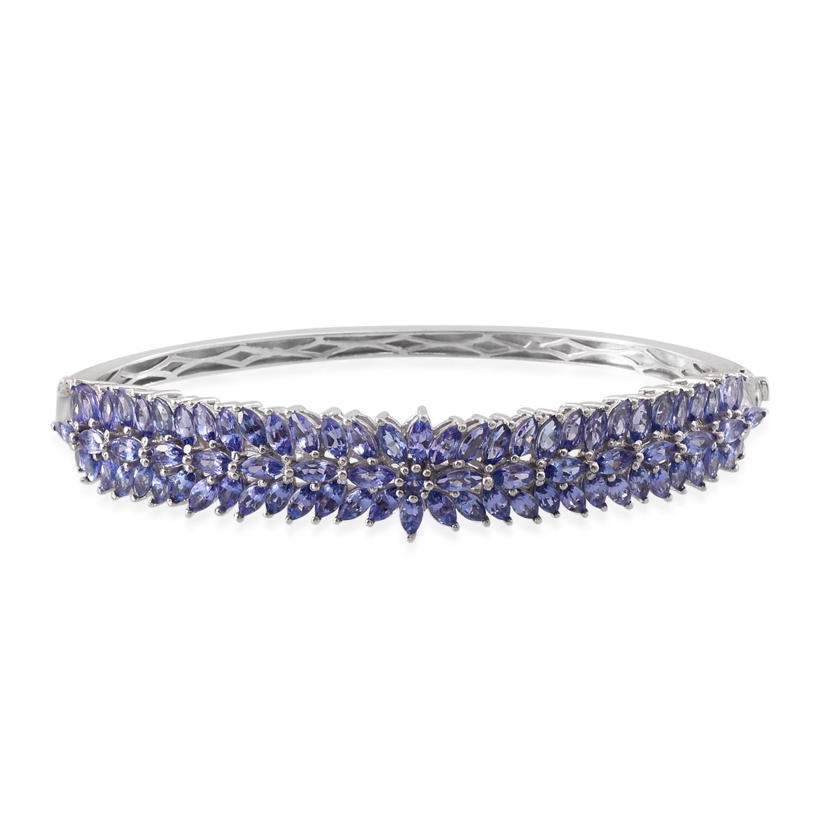 Tanzanite, Diamond Platinum Over Sterling Silver Bangle (7.5) TGW 11.81 cts.