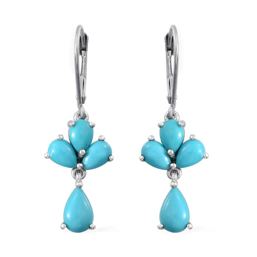 Arizona Sleeping Beauty Turquoise Platinum Over Sterling Silver Lever Back  Earrings Tgw 323 Cts  Luxuryjewelry  Promotions  Onlinestore  Shop Lc