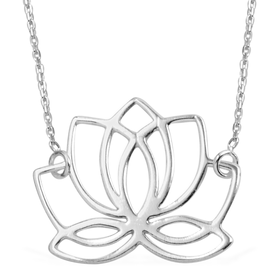 Sterling Silver Lotus Flower Necklace 18 In 28 G Silver