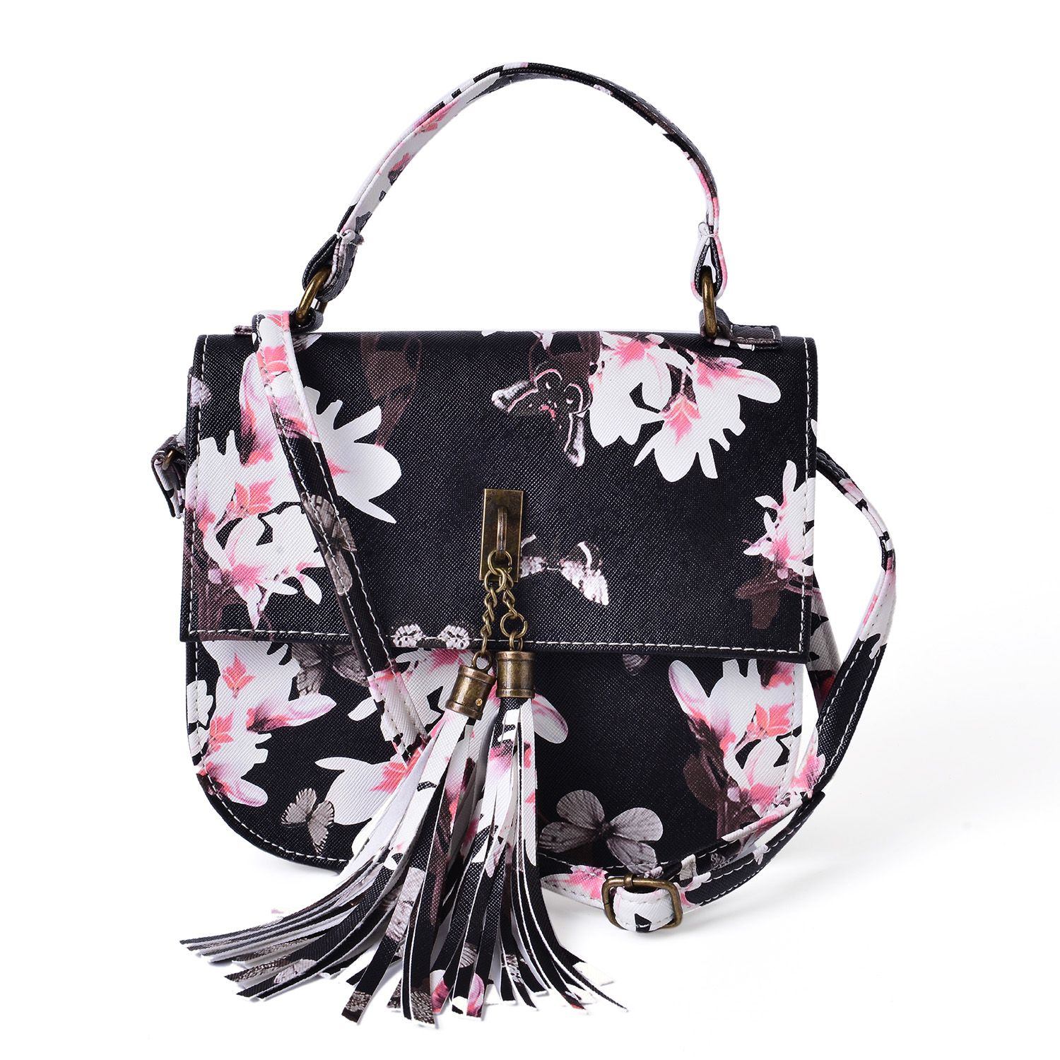 Black Floral Print Faux Leather Crossbody Bag (8x2.5x7 In) | Handbags | Fashion-accessories ...