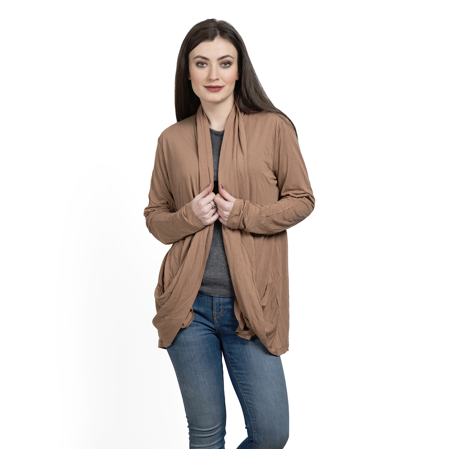 Khaki 100% Viscose Waterfall Cardigan | cardigans | fashion ...