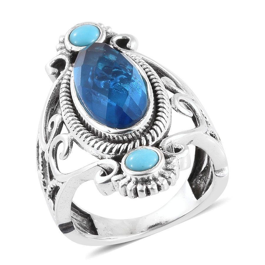 c3e42e0cbae5cc Caribbean Quartz, Arizona Sleeping Beauty Turquoise Sterling Silver  Openwork Elongated Ring (Size 7.0) TGW 6.195 cts.