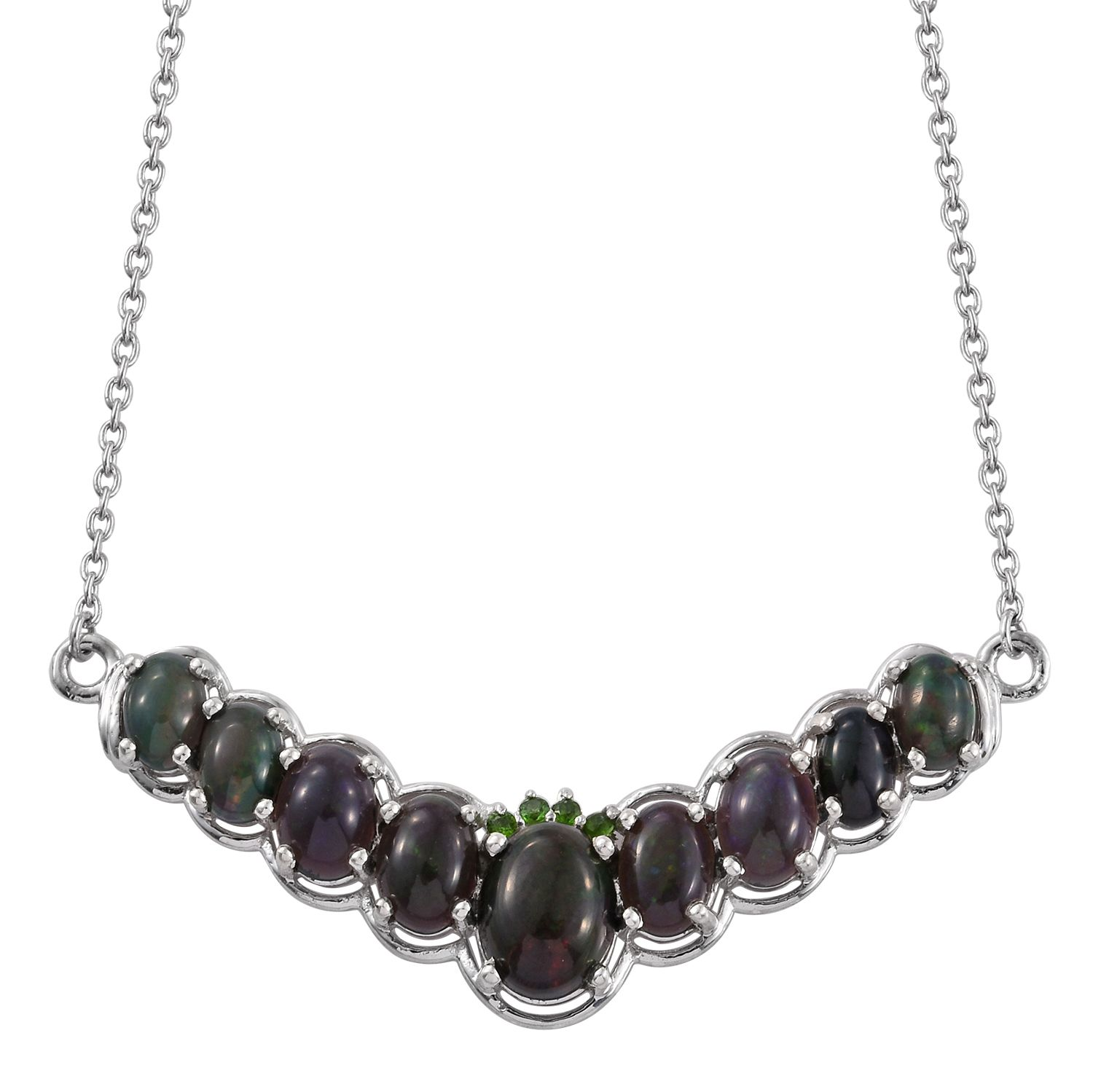 Russian diopside platinum over sterling silver necklace 18 in 4160 image is loading russian diopside platinum over sterling silver necklace 18 aloadofball Images