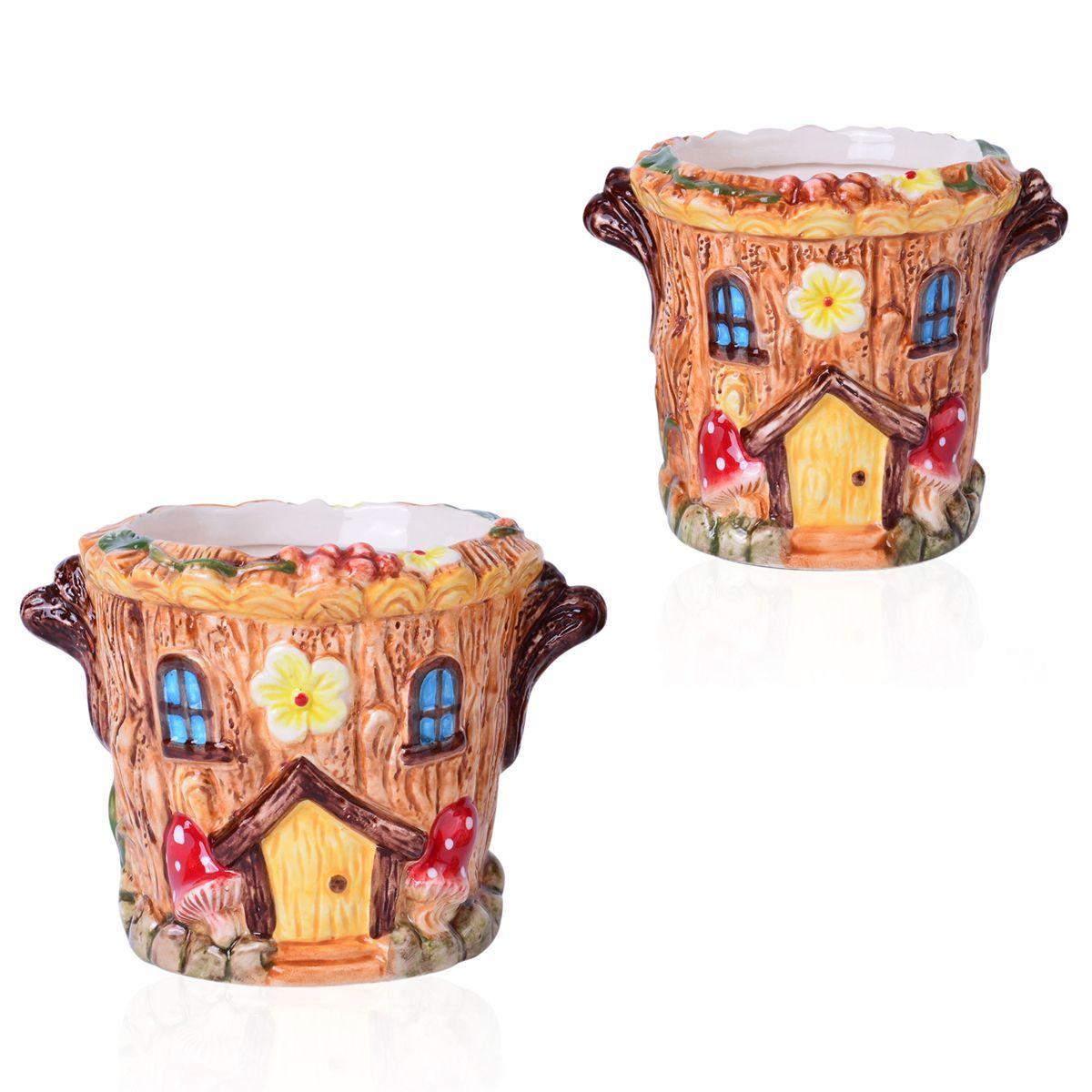 Set of 2 round house ceramic garden pots for Garden room 5x3