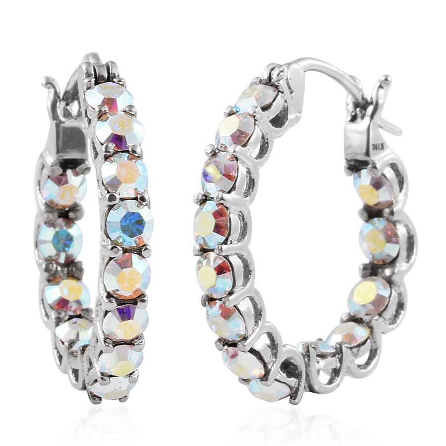 Stainless steel inside out hoop earrings made with for Swarovski jewelry online store