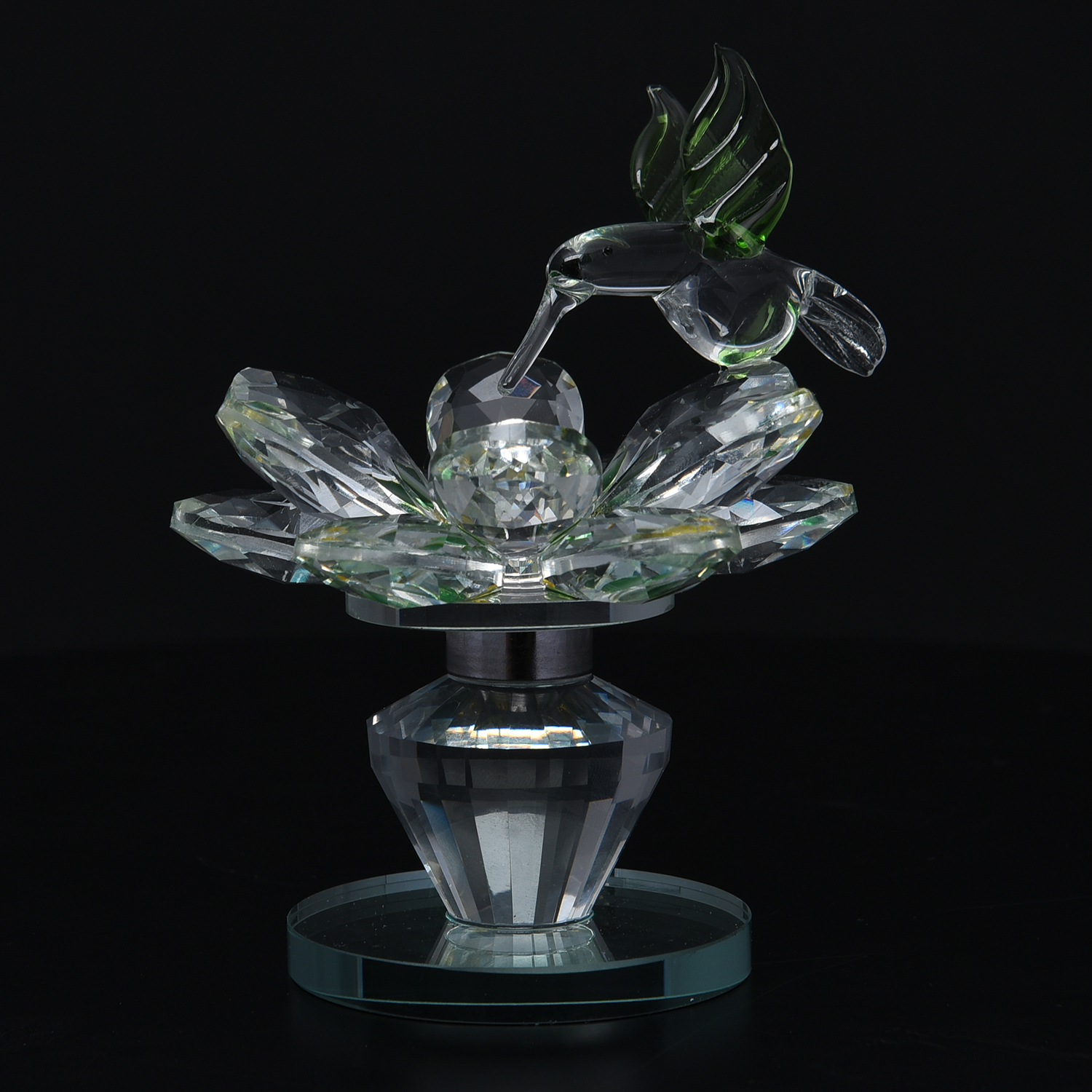 Yellow And Green Glass Rotatable Crystal Lotus Flower: crystal home decor