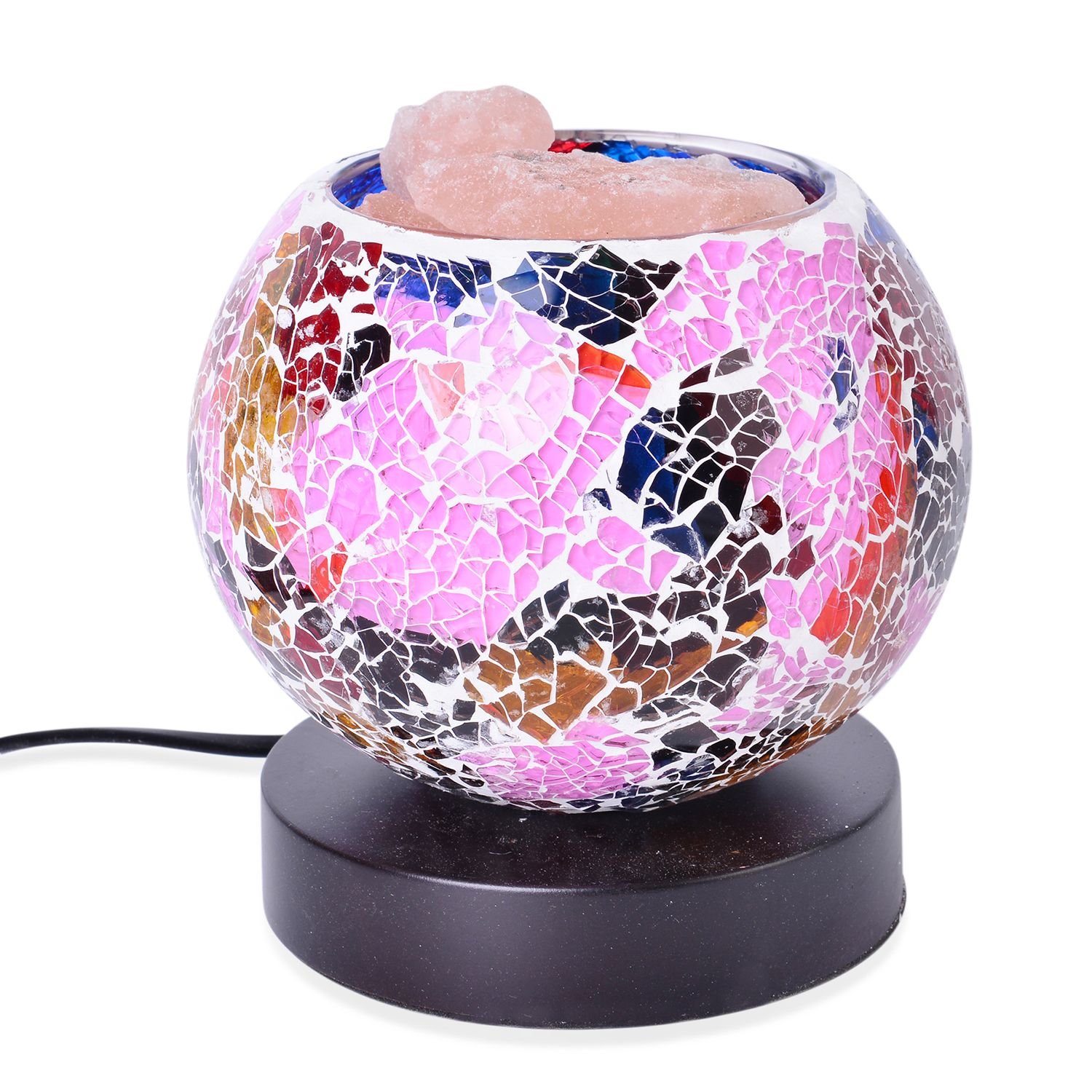 Himalayan Salt Lamp Multicolor : Handcrafted Multi Color Mosaic Electric Lamp with Himalayan Salt (5 in) lighting decor ...