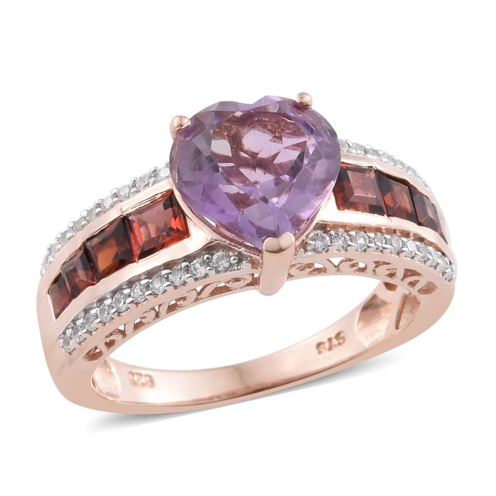 Sterling Silver 14k Rose Gold Plated Pink Amethyst Heart