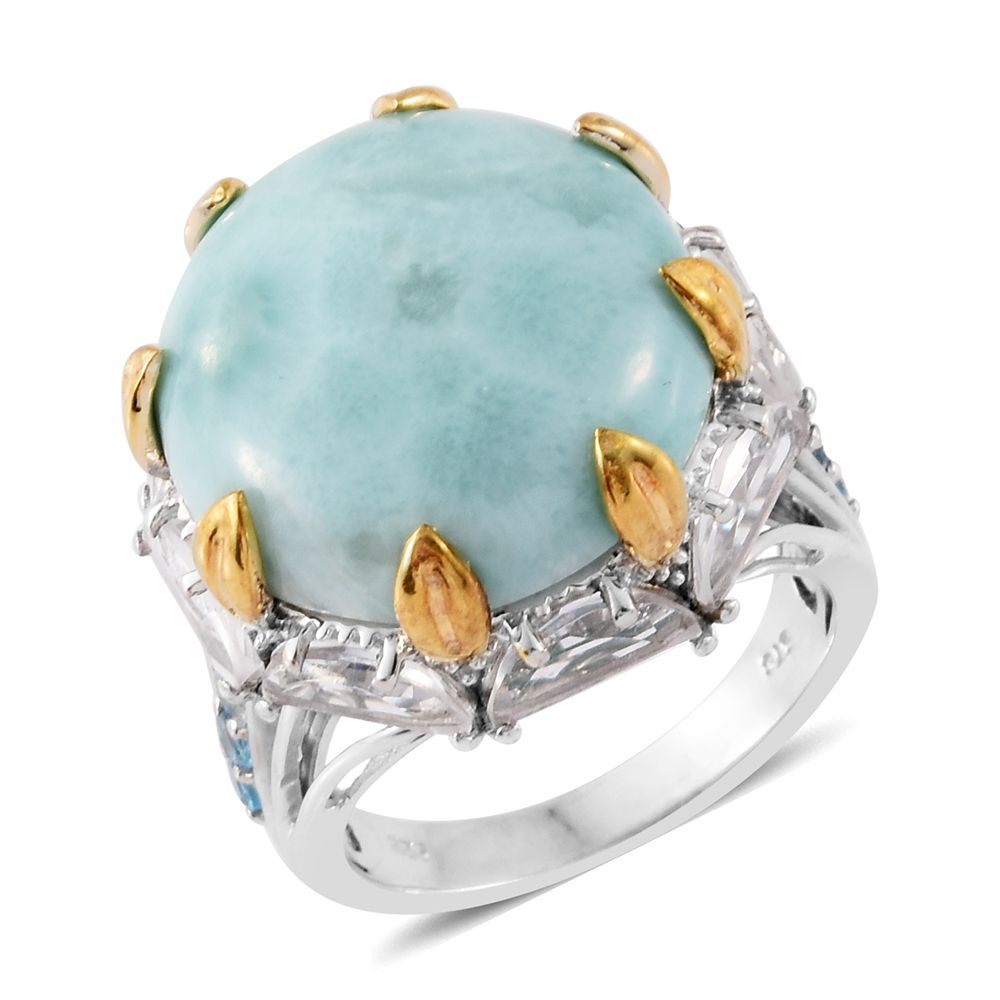 935d5ebec Sea Mist Larimar, Electric Blue Topaz, White Topaz 14K YG and Platinum Over Sterling  Silver Ring (Size 8.0) TGW 31.35 cts. | Shop LC