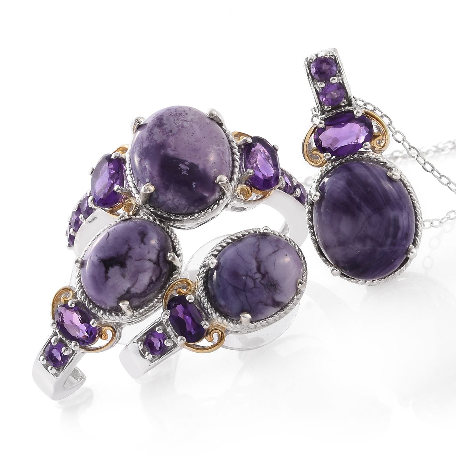 838ab969d Utah Tiffany Stone, Amethyst 14K YG and Platinum Over Sterling Silver  Earrings, Ring (Size 9) and Pendant With Chain (20 in) TGW 14.57 cts.    Shop LC