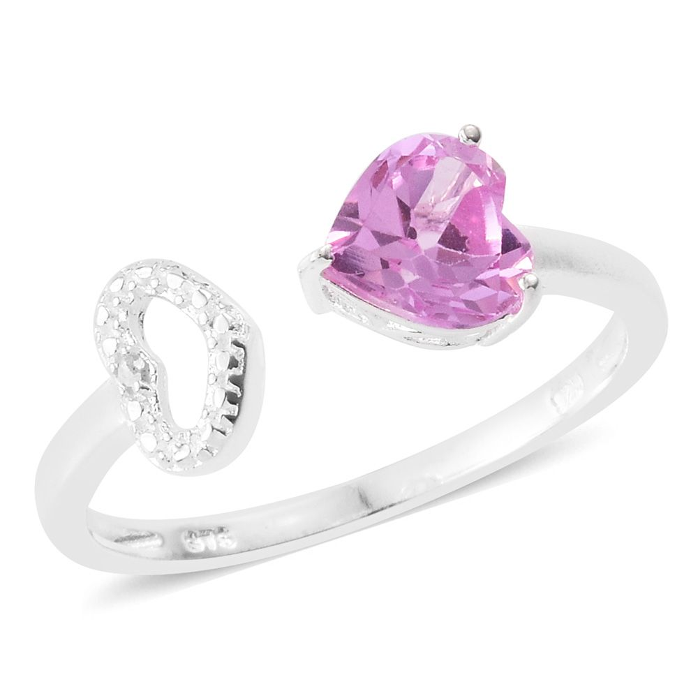 e263dea75 Lab Created Pink Sapphire, Diamond Accent Sterling Silver Open Heart Ring  (Size 7.0) TGW 1.56 cts. | Solitaire | Rings | Jewelry | online-store |  Shop LC