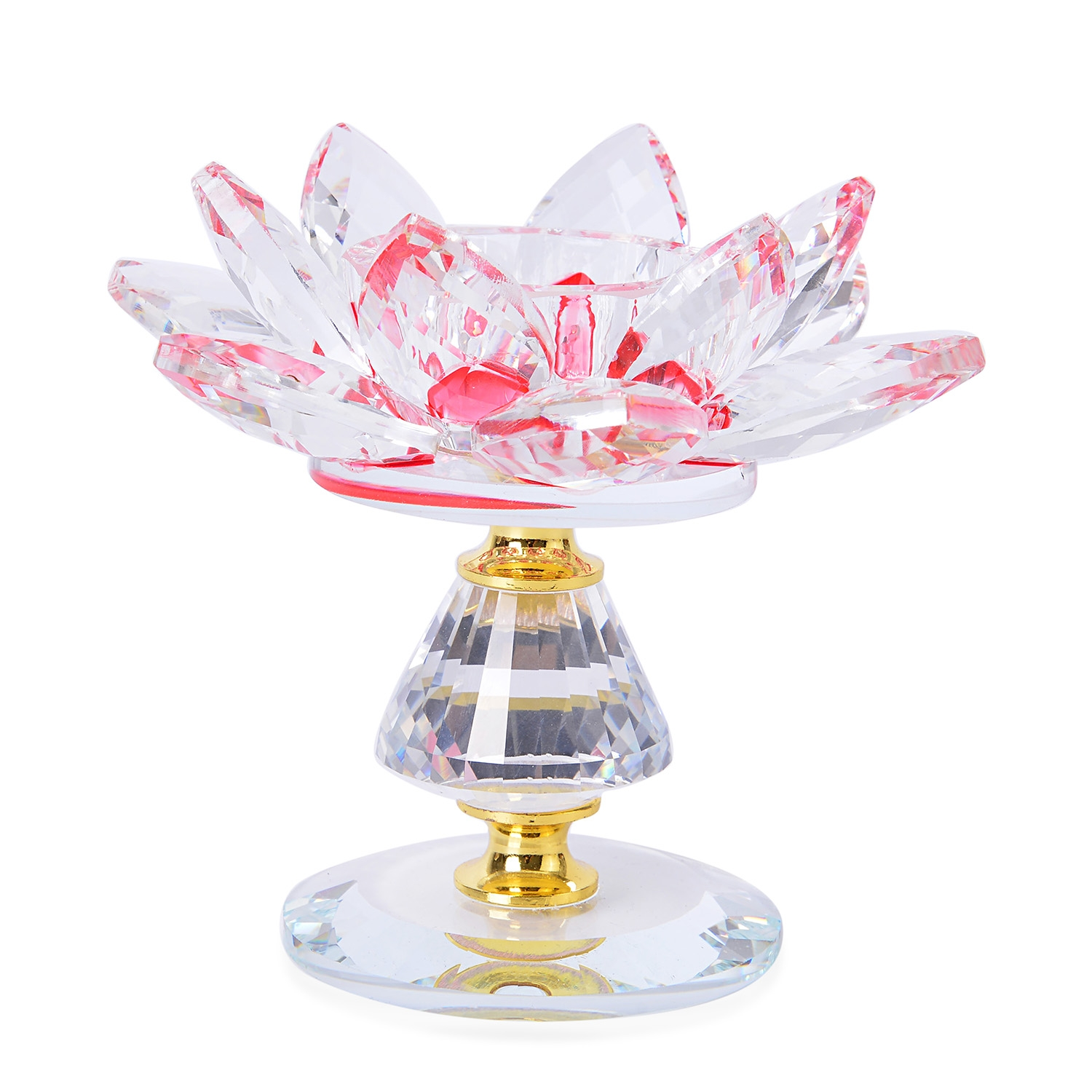 Red glass goldtone lotus crystal candle holder Crystal home decor