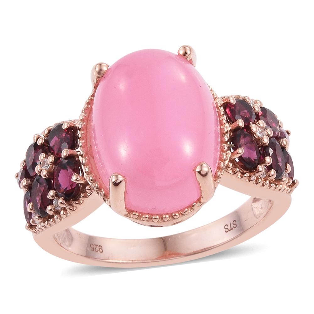 Burmese Pink Jade, Orissa Rhodolite Garnet, Cambodian Zircon 14K RG ...