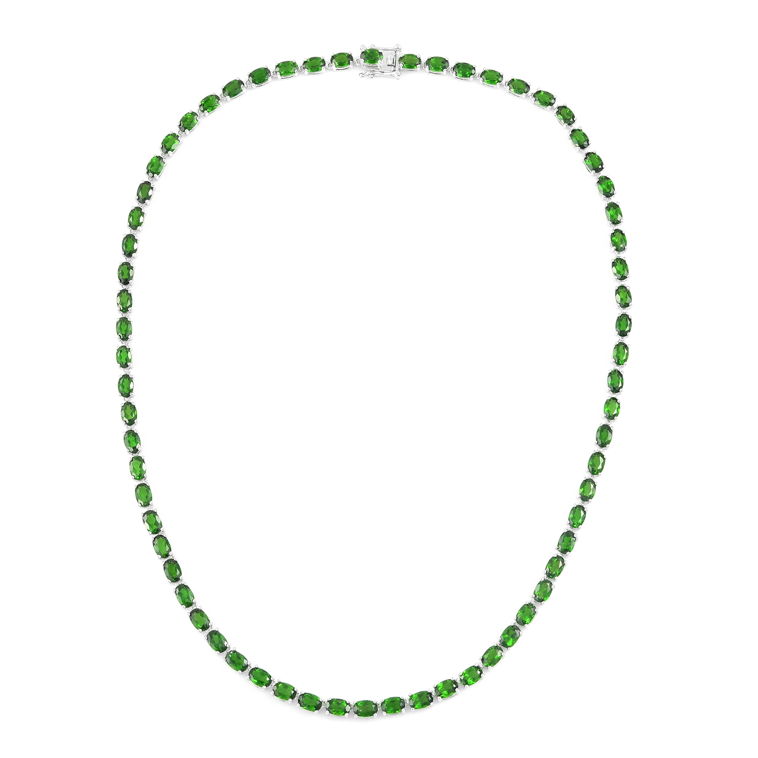 Mega Doorbuster Russian Diopside Sterling Silver Faceted Tennis Necklace (18 in) TGW 32.90 cts.