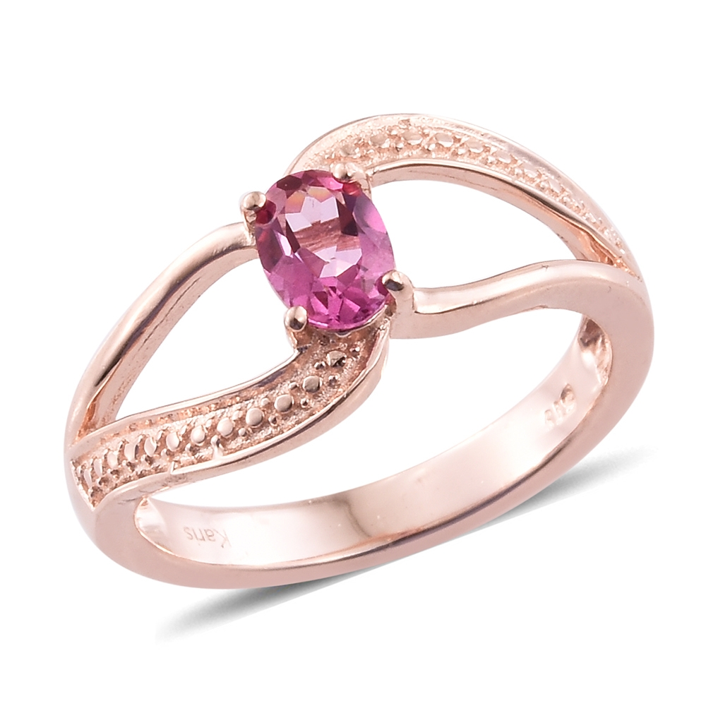 Pure Pink Mystic Topaz ION Plated 18K RG Brass Open Shank Ring (Size ...