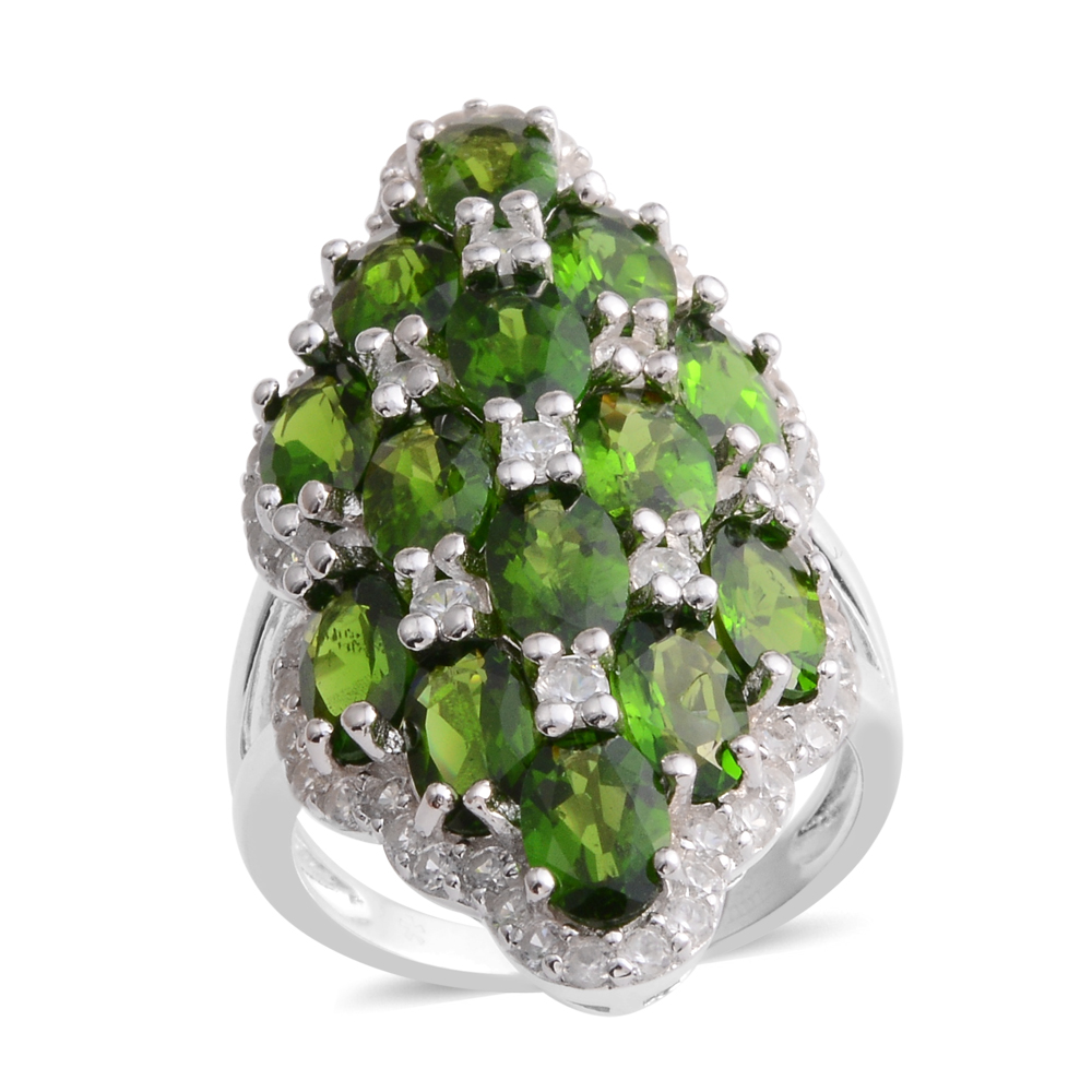 Silver Russian Diopside Cluster Ring