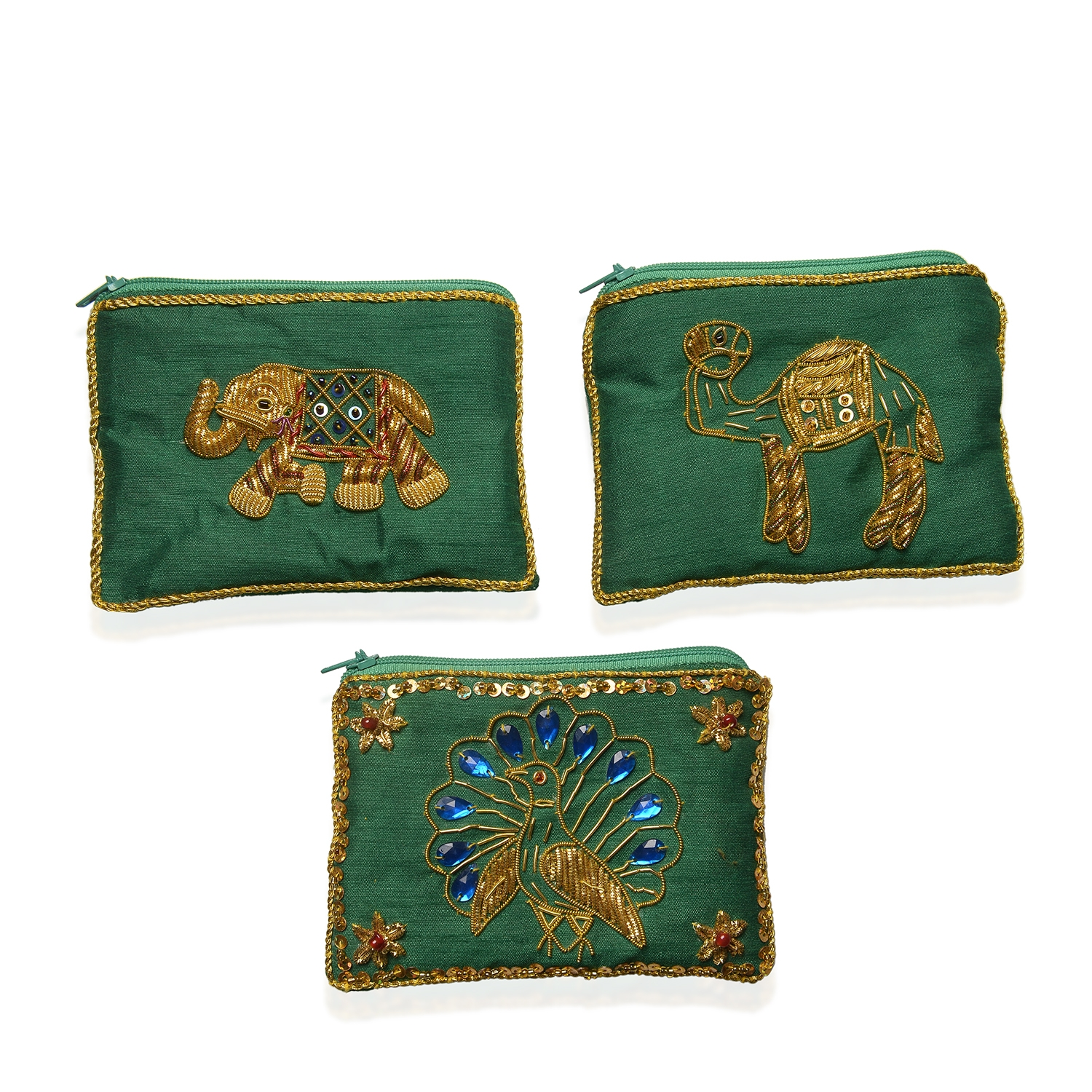 Set Of 3 Royal Green Hand Embroidered Animal Coin Purses 5x3 5 In