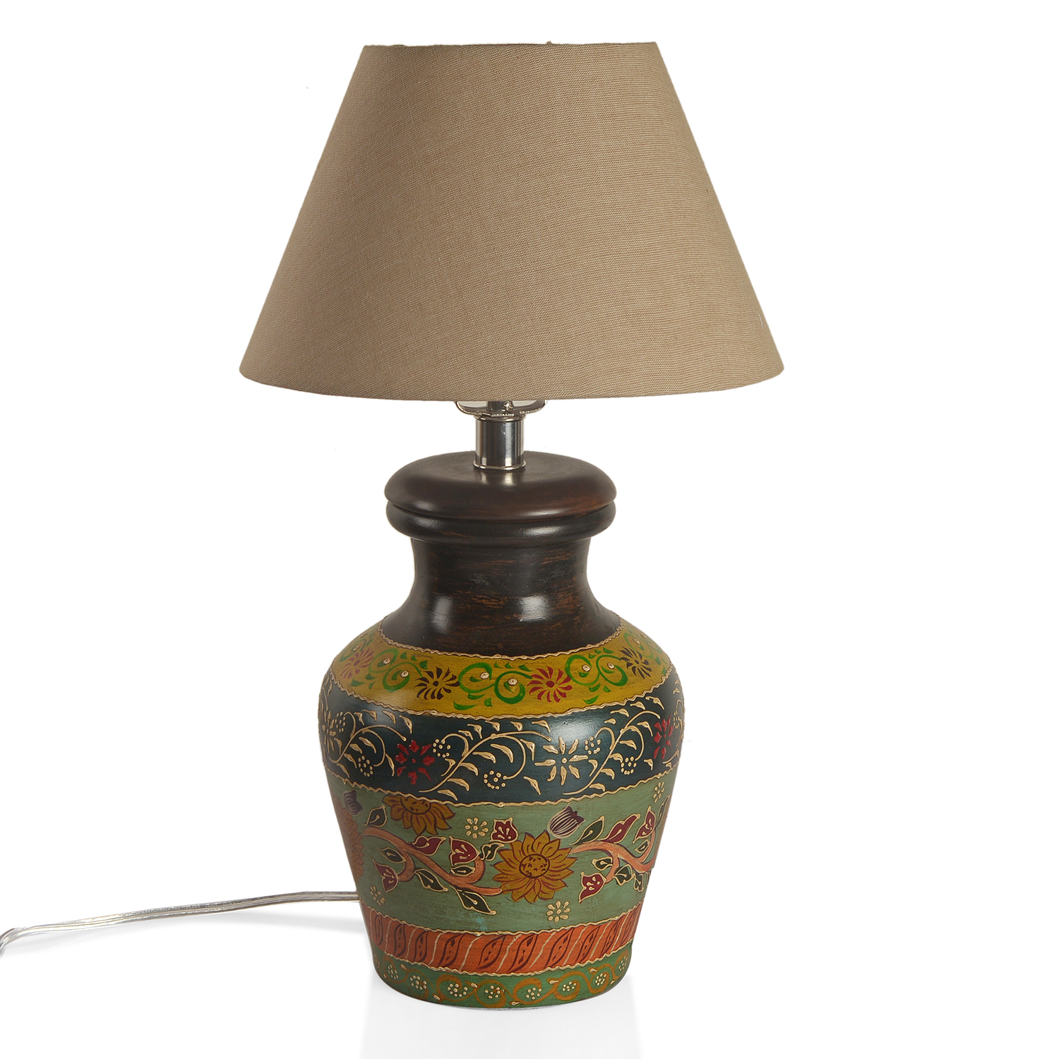 Multi Color HPainted Warli Art Terracotta Clay Flower Pot Electrical Table  Lamp