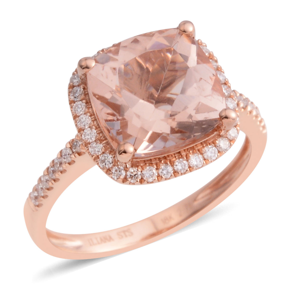 ILIANA 18K RG Marropino Morganite, Diamond Ring (Size 9.0) TDiaWt ...