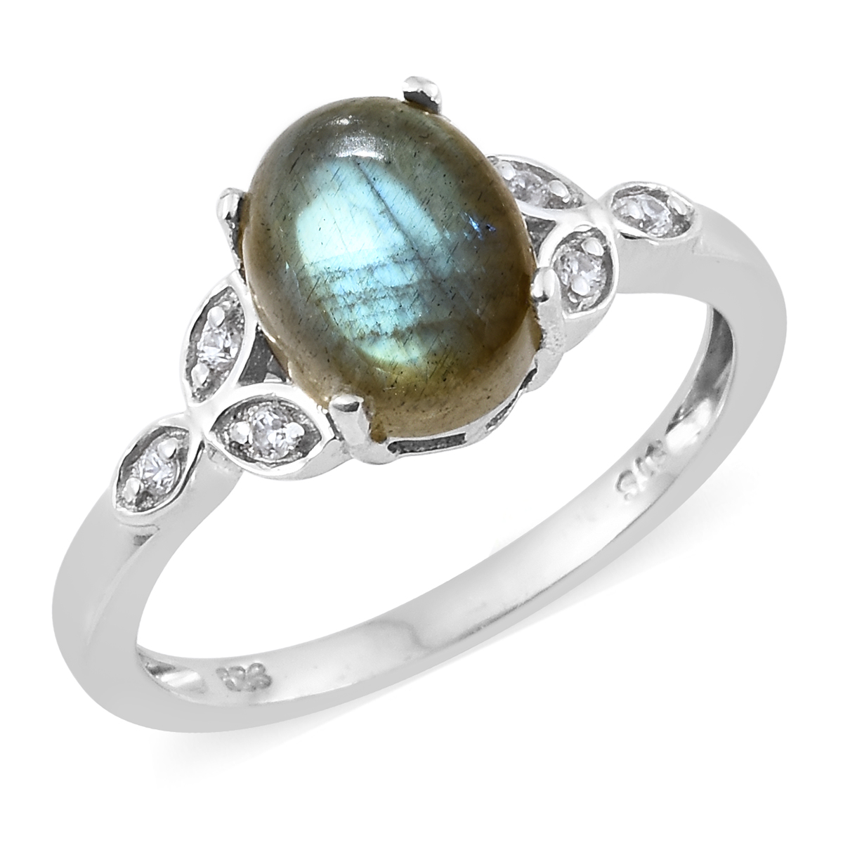 a26ef1f67b Malagasy Labradorite, Cambodian Zircon Platinum Over Sterling Silver Ring  (Size 5.0) TGW 3.39 cts. | Silver-Jewelry | Promotions | online-store |  Shop LC