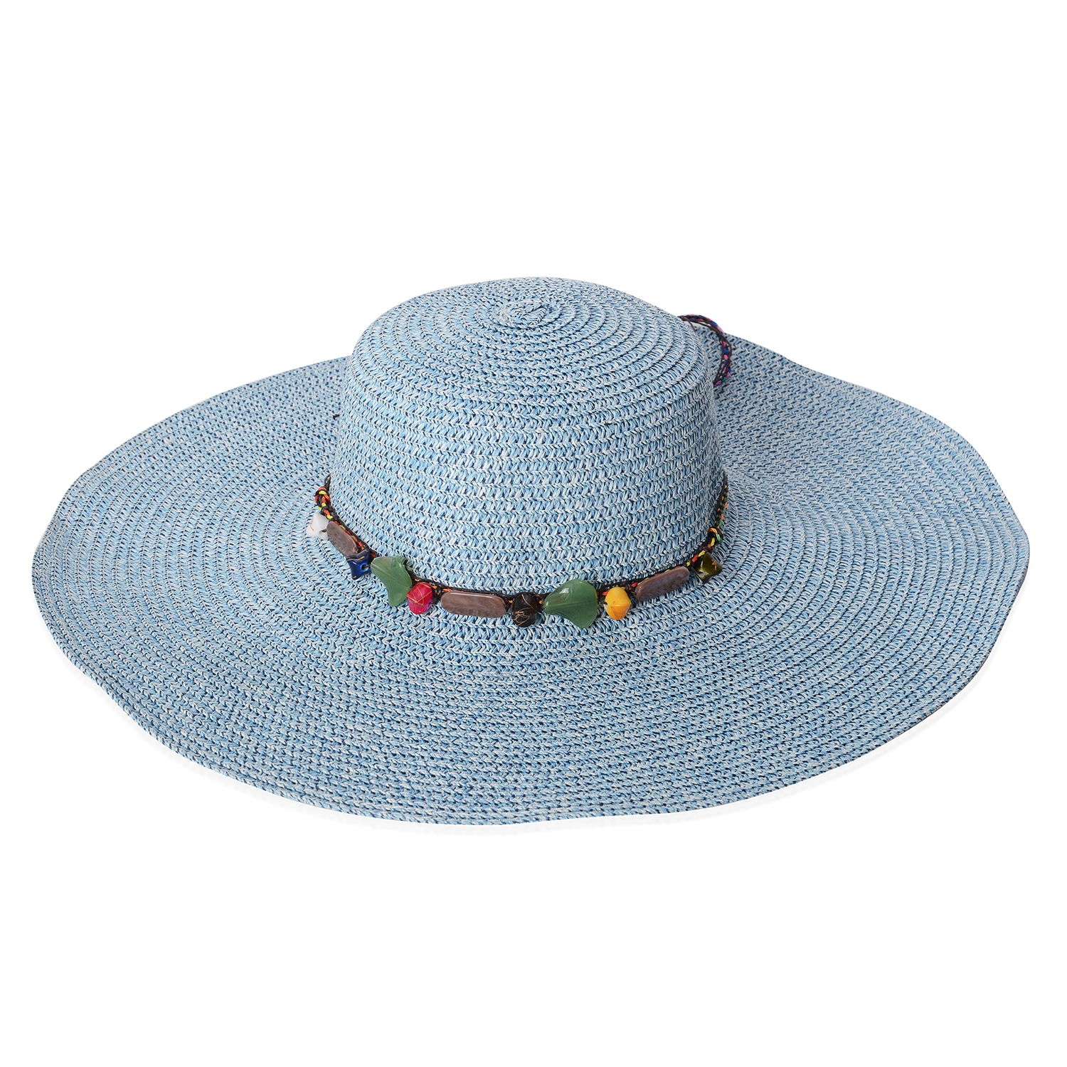 9860bfad9d4 Blue 100% Straw Paper Beaded String Floppy Hat (One Size) ...