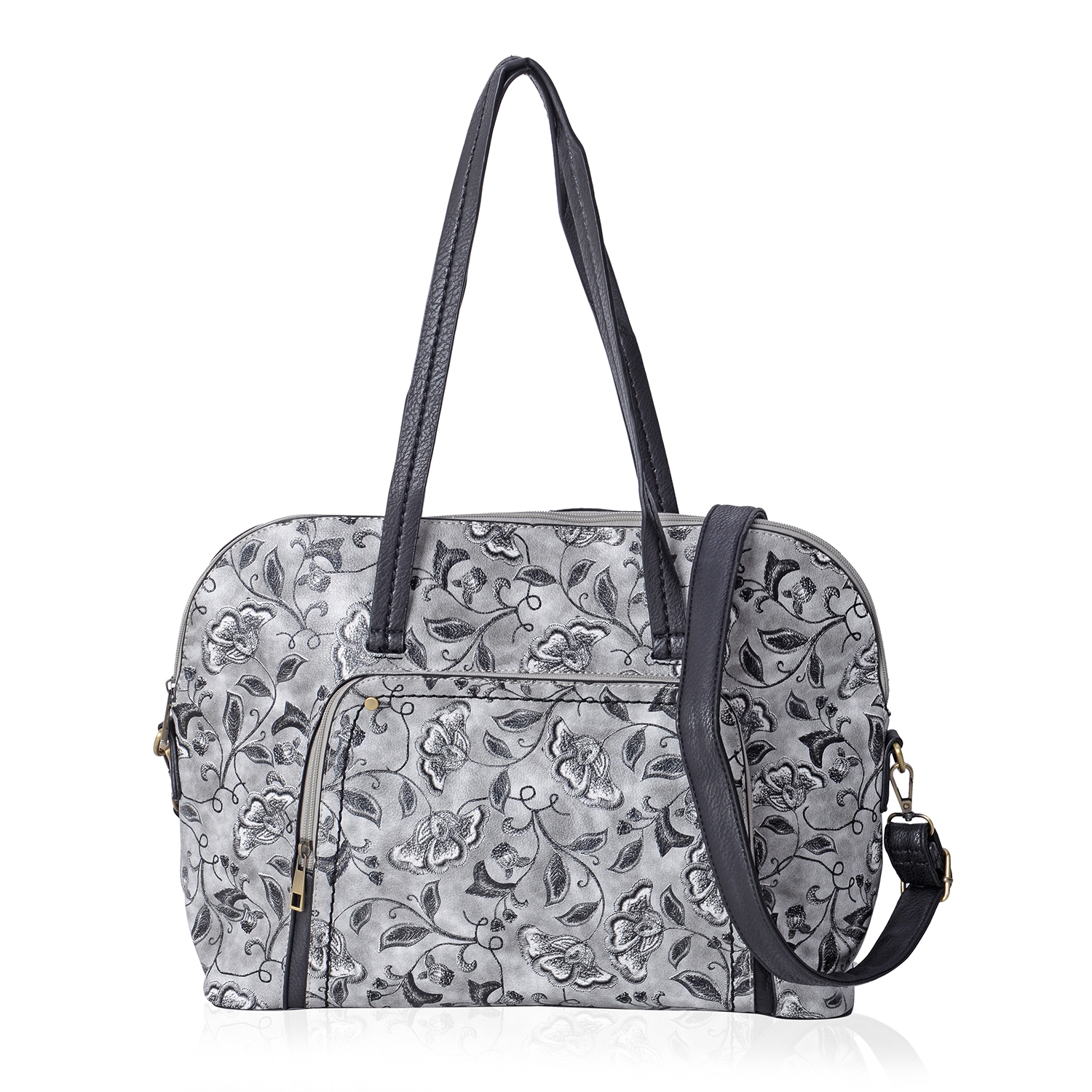 d926101487bc Gray Faux Leather Floral Print Doctor Bag with Removable Shoulder Strap  (15x5x11