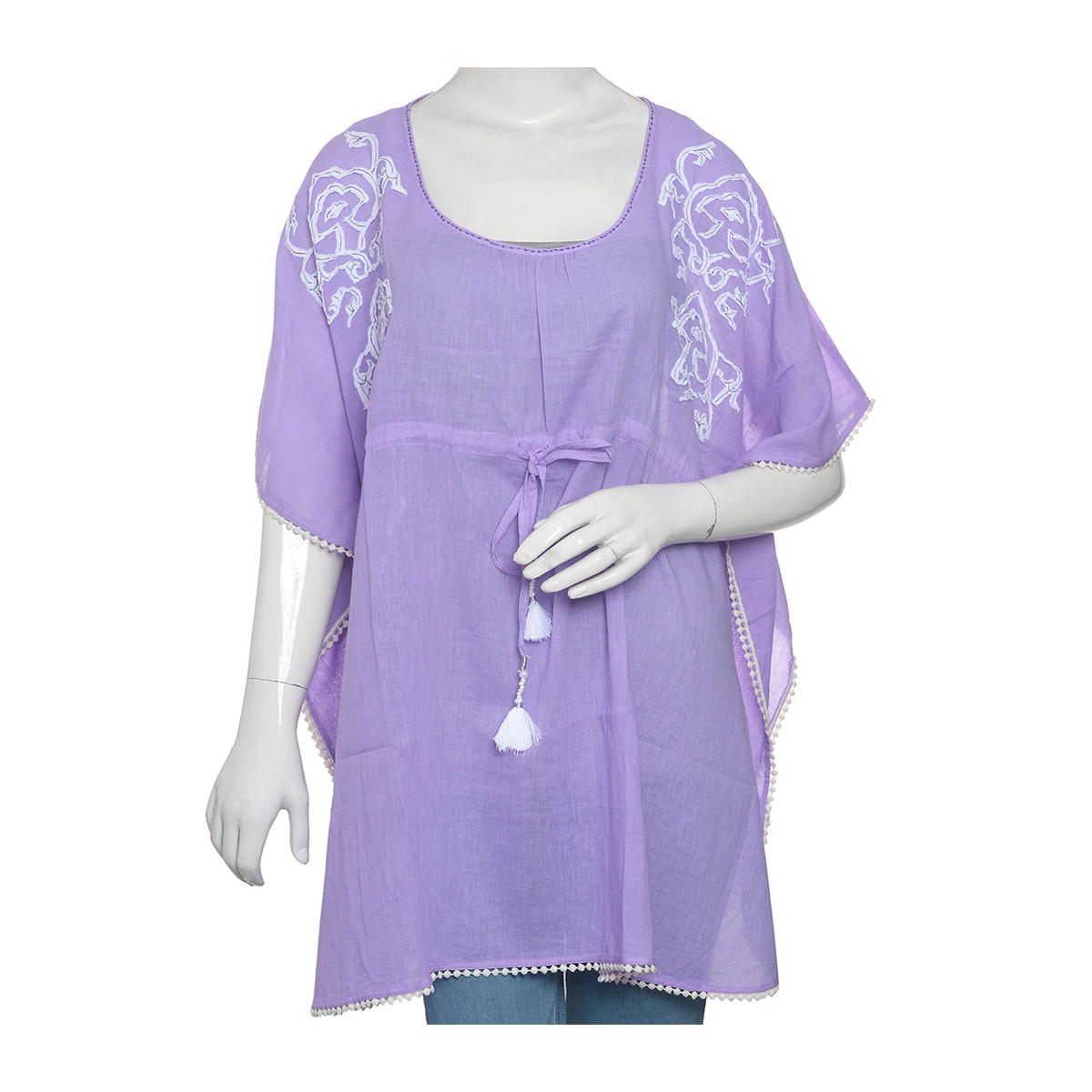 d82916281e388a Purple 100% Cotton Embroidered Kaftan with Drawstring Tassels (One Size)