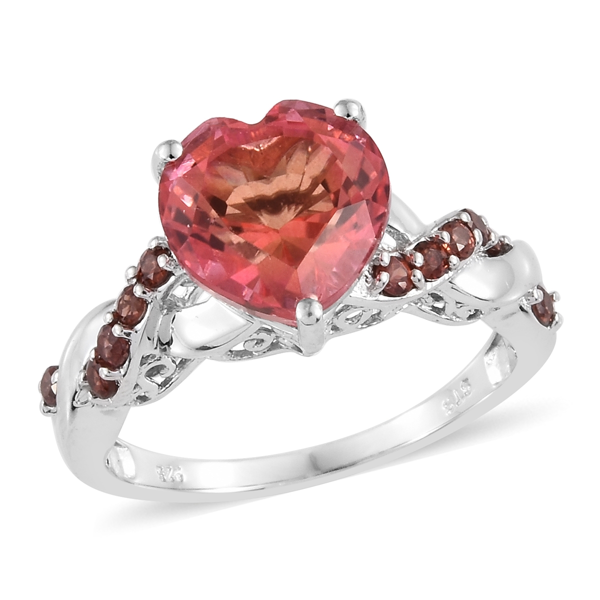a19ea53d3 Padparadscha Color Quartz, Mozambique Garnet Platinum Over Sterling Silver Heart  Ring (Size 6.0) TGW 5.85 cts. | Fashion | Rings | Jewelry | online-store ...