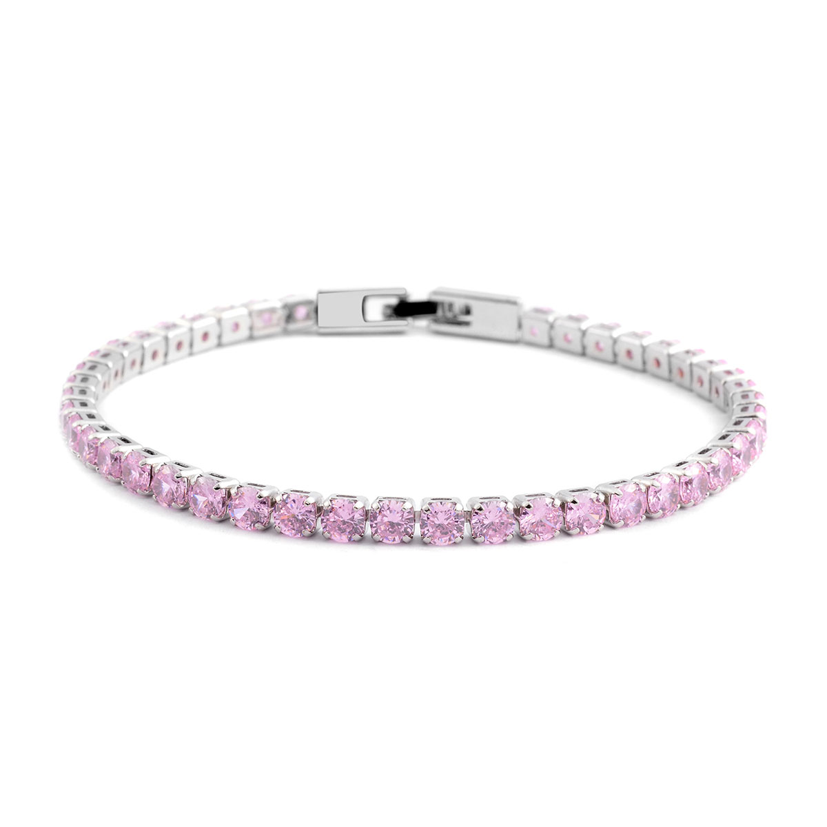 New Round Pink Cubic Zirconia Tennis Bracelet For Women 8 ...