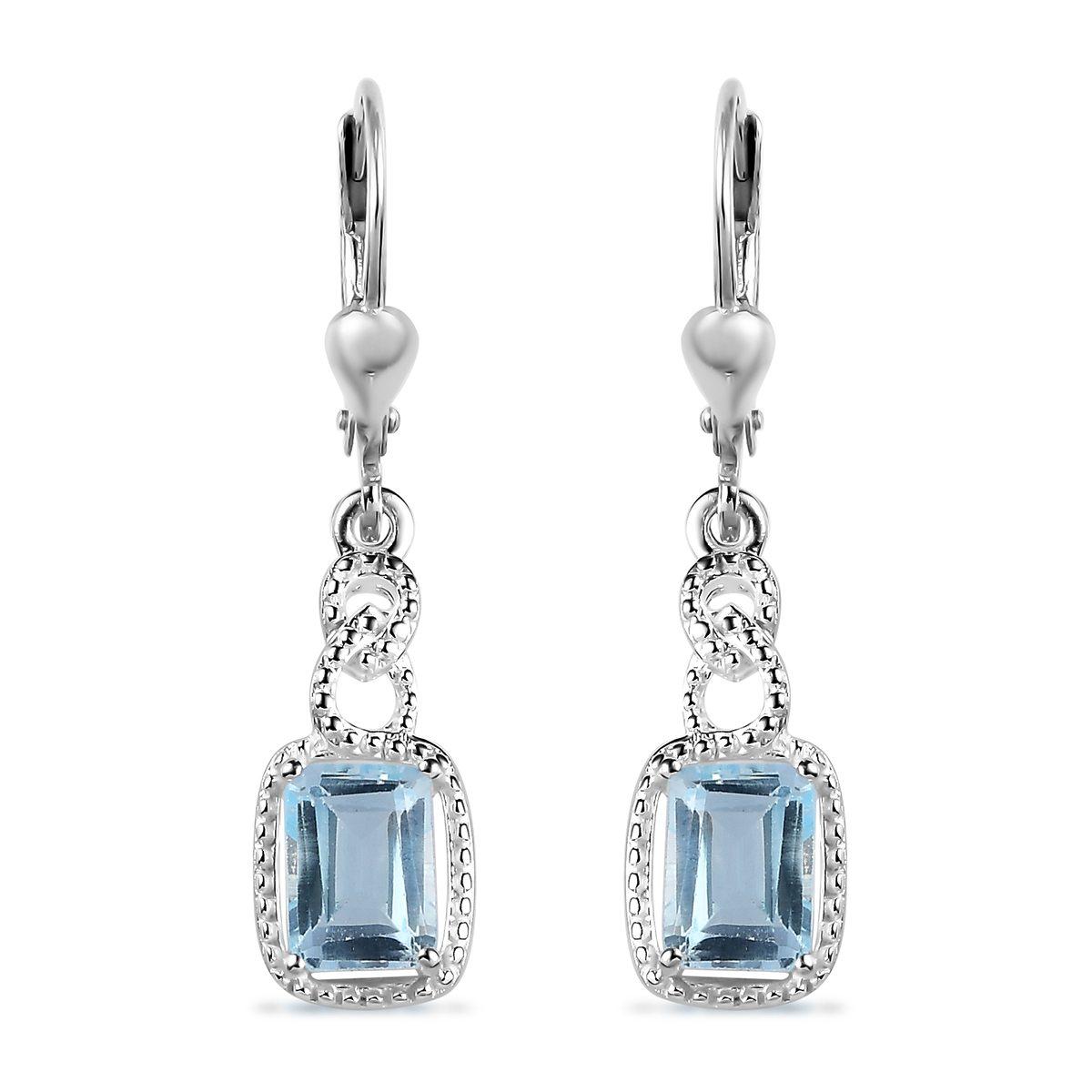 3840f1816 Details about Sky Blue Topaz Dangle Drop Earrings Octagon 925 Sterling  Silver Jewelry