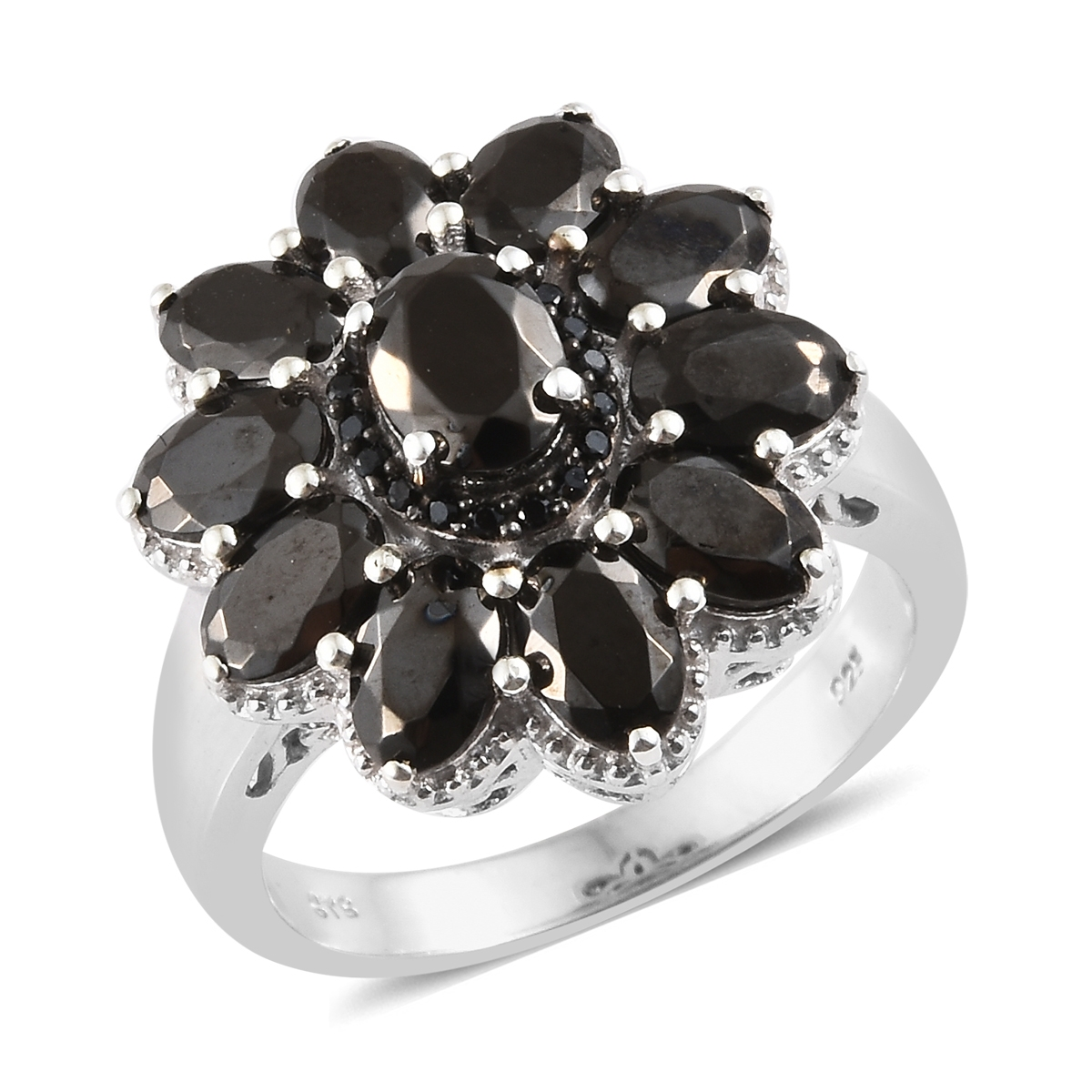 b489813211daa Shungite, Thai Black Spinel Platinum Over Sterling Silver Ring (Size 6.0)  TGW 3.70 cts.