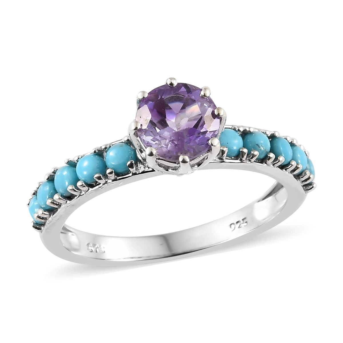 brand new 495c4 8eb75 Rose De Maroc Amethyst, Arizona Sleeping Beauty Turquoise Platinum Over  Sterling Silver Ring (Size 10.0) TGW 1.91 cts.