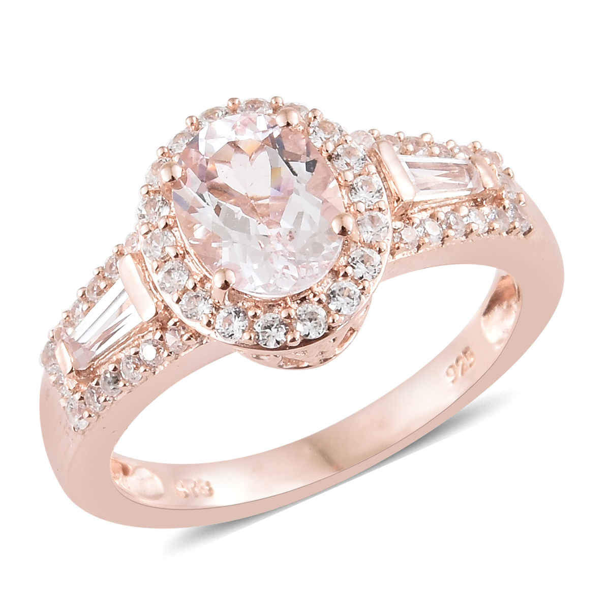 38bc11ff5991c Pink Morganite, Zircon Promise Ring in Vermeil Rose Gold Over Sterling  Silver (Size 10.0) 2.60 ctw