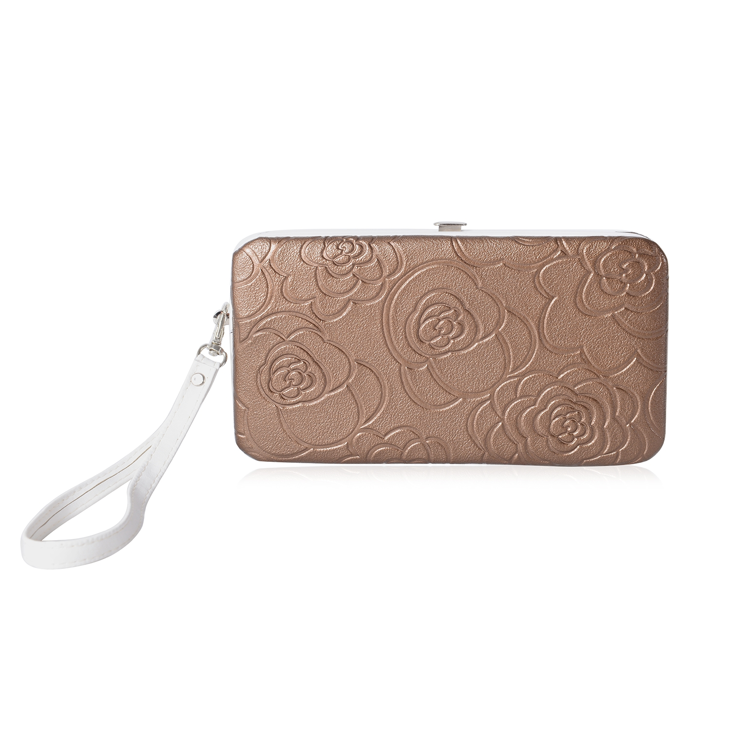 Bronze Faux Leather Rose Embossed Foldover Metallic Snap Wallet with  Removable Wristlet (7x1x3.5 c8dde087e050b