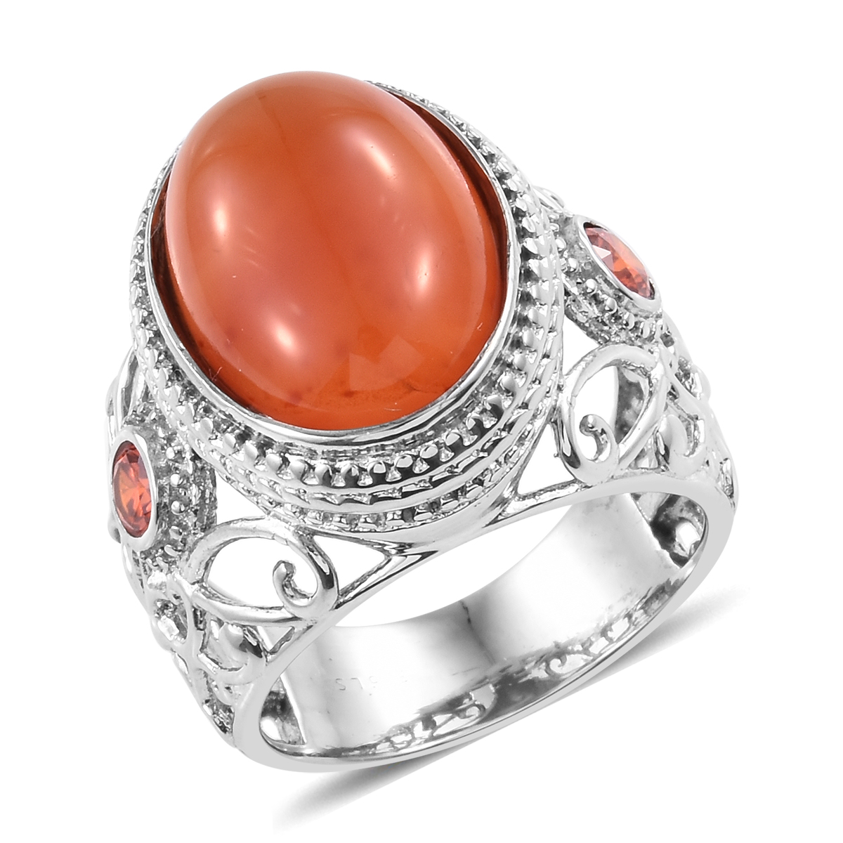 Carnelian Simulated Orange Sapphire Stainless Steel Ring (Size 5.0) 12.46  ctw 439f1b66fe845