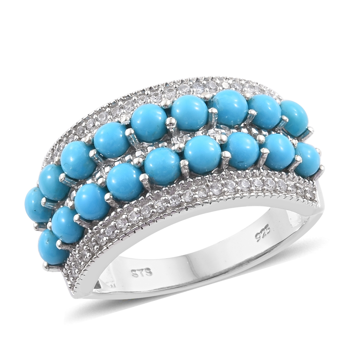 d42f752af6a9cb Arizona Sleeping Beauty Turquoise, Cambodian Zircon Platinum Over Sterling Silver  Band Ring (Size 8.0) 3.11 ctw | Cluster | Rings | Jewelry | online-store ...