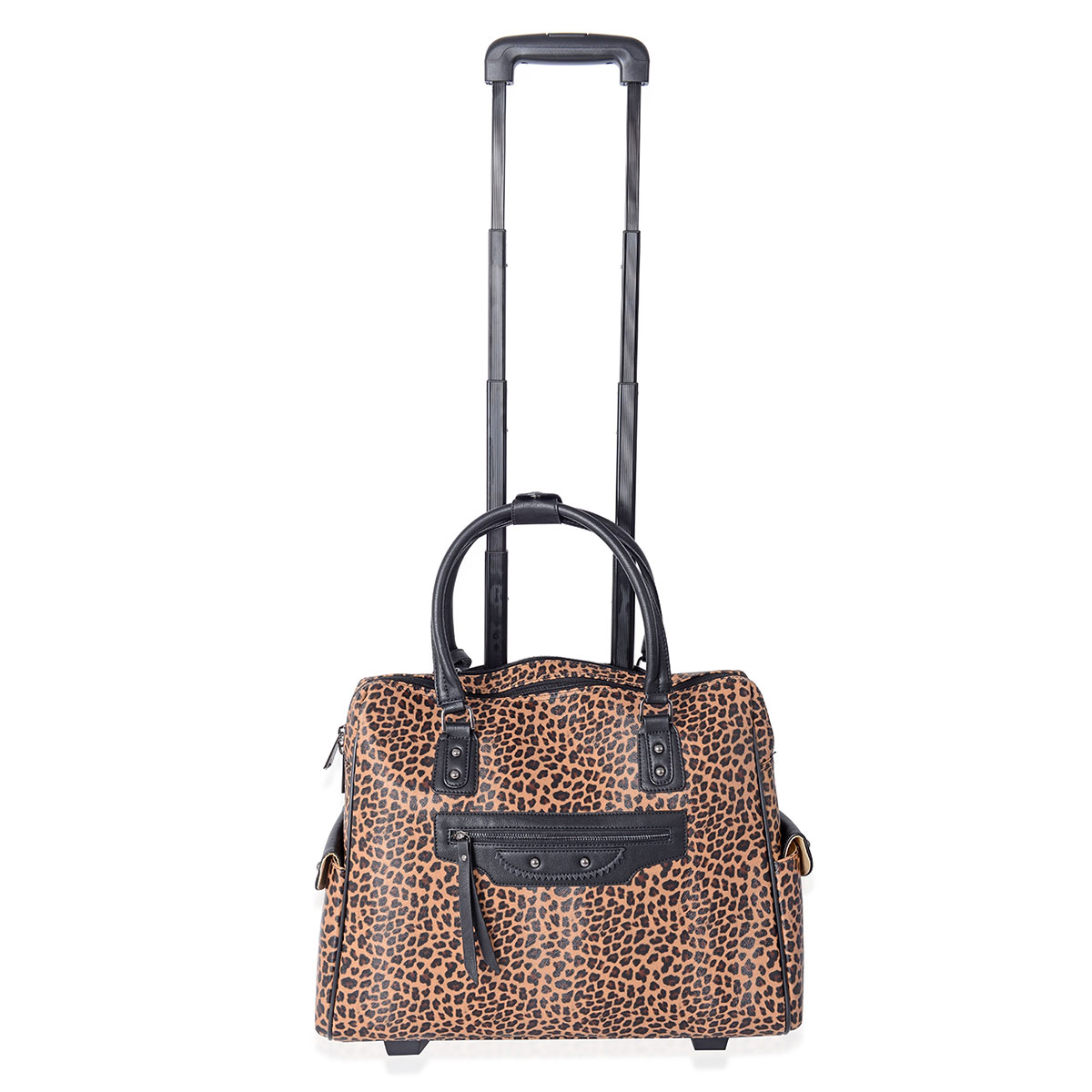 698c13b5fa9f MEGA CLEARANCE Brown, Black Leopard Pattern Vegan Leather Rolling Tote  Carry-on Luggage (19x6x15 in)