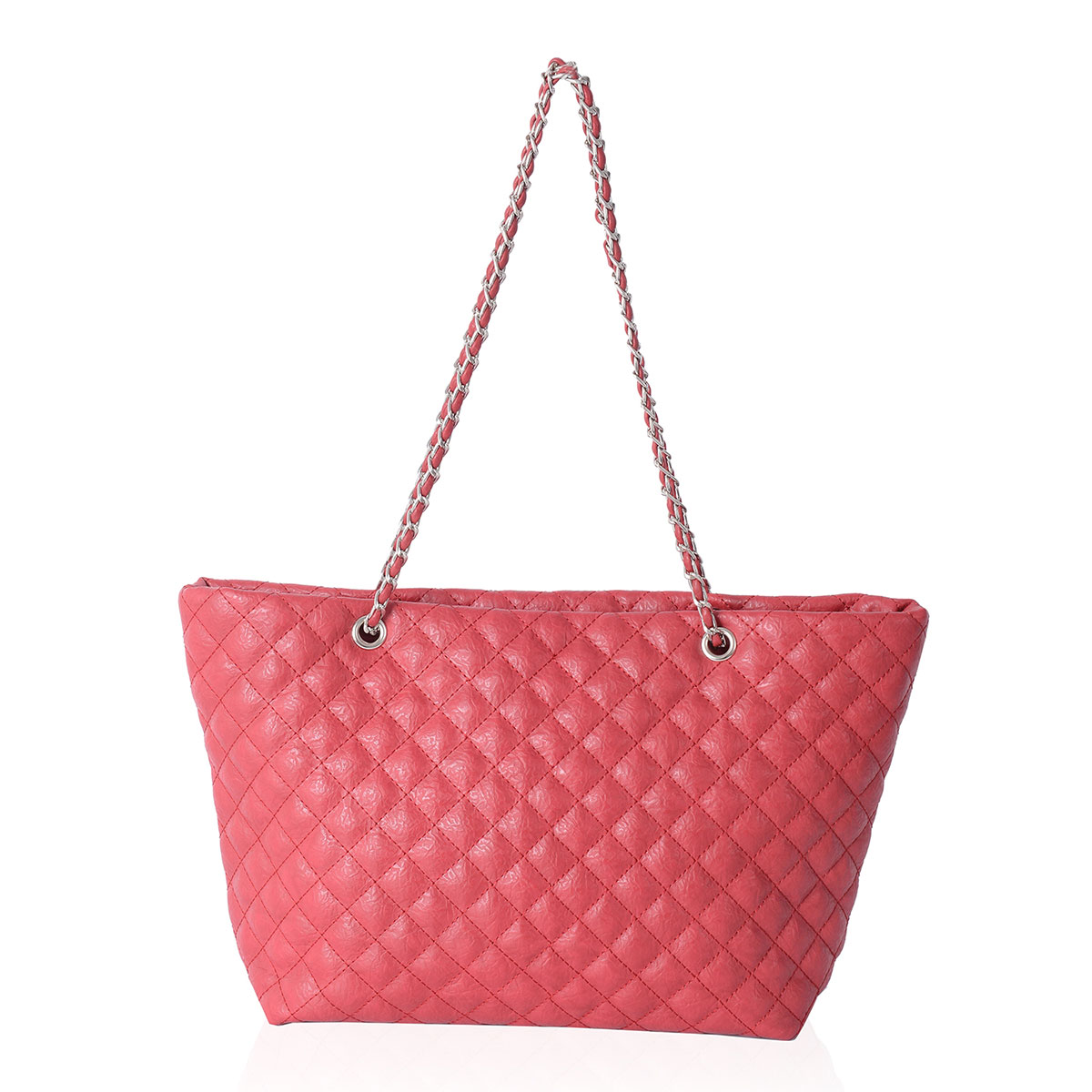 d0c921a880a514 Red Quilted Faux Leather Shoulder Bag With Chain Strap 16x5x9 In. Handbags.  Handbags Fashion Chanel