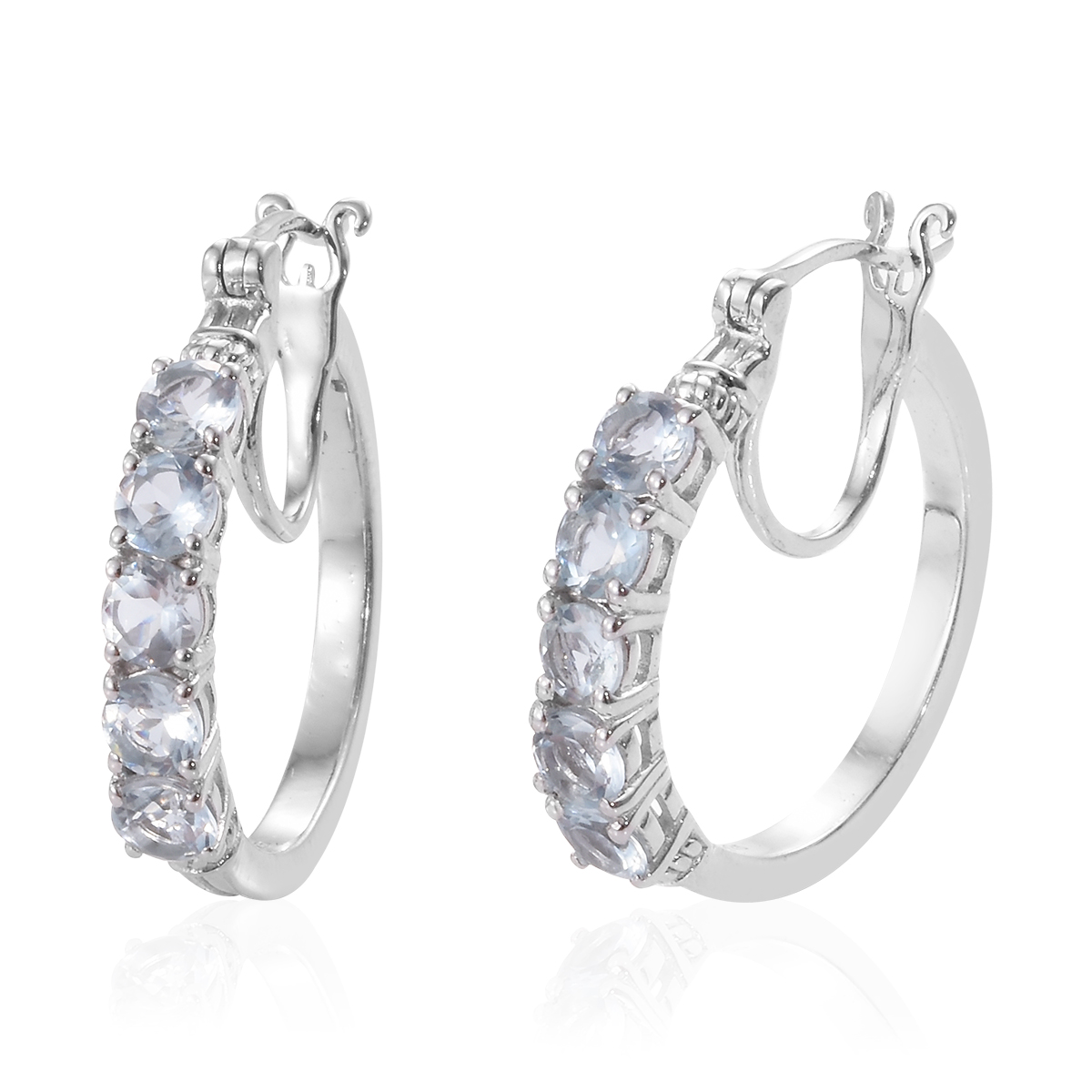 caf1bce90 Hoops Hoop Earrings Silver Round Aquamarine Gift Jewelry for Women Cttw 2.3