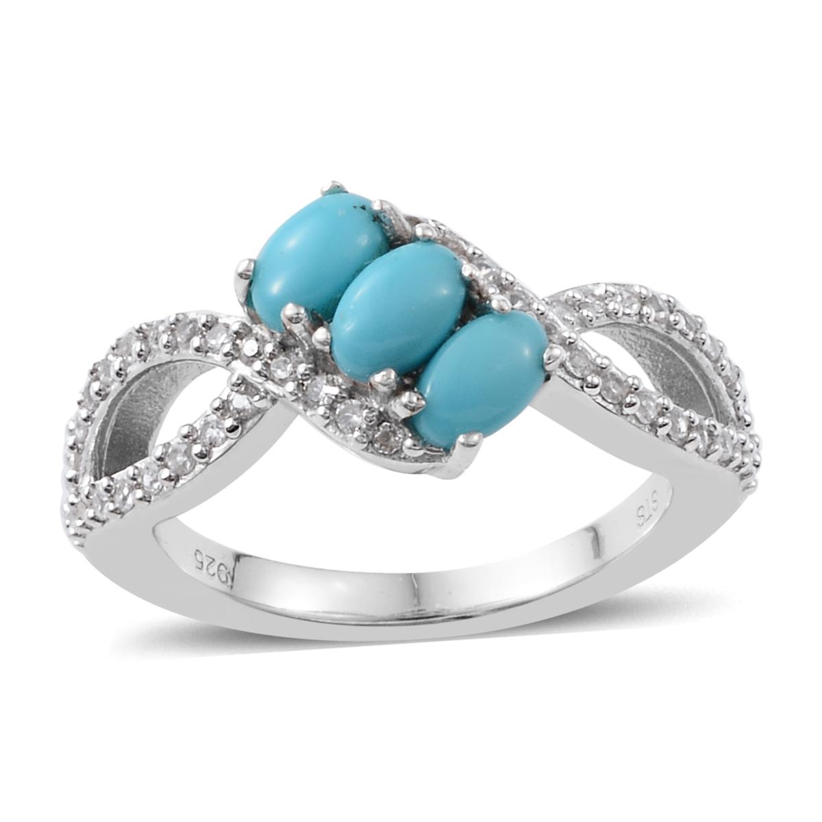b3dfddcd349eb4 Silver Platinum Plated Sleeping Beauty Turquoise Zircon Split Ring ...