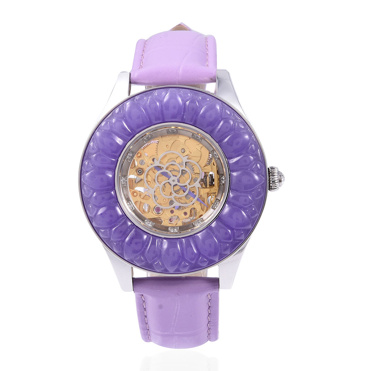 72d095b73 EON 1962 Burmese Purple Jade Carved, Multi Gemstone Japanese Movement Watch  with Purple Geniune Leather Band and Stainless Steel Back 27.12 ctw | Shop  LC