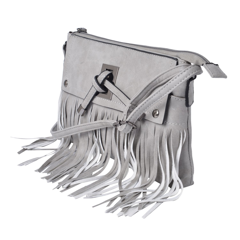 Gray Vegan Leather Crossbody Bag (11x1x7.5 in)
