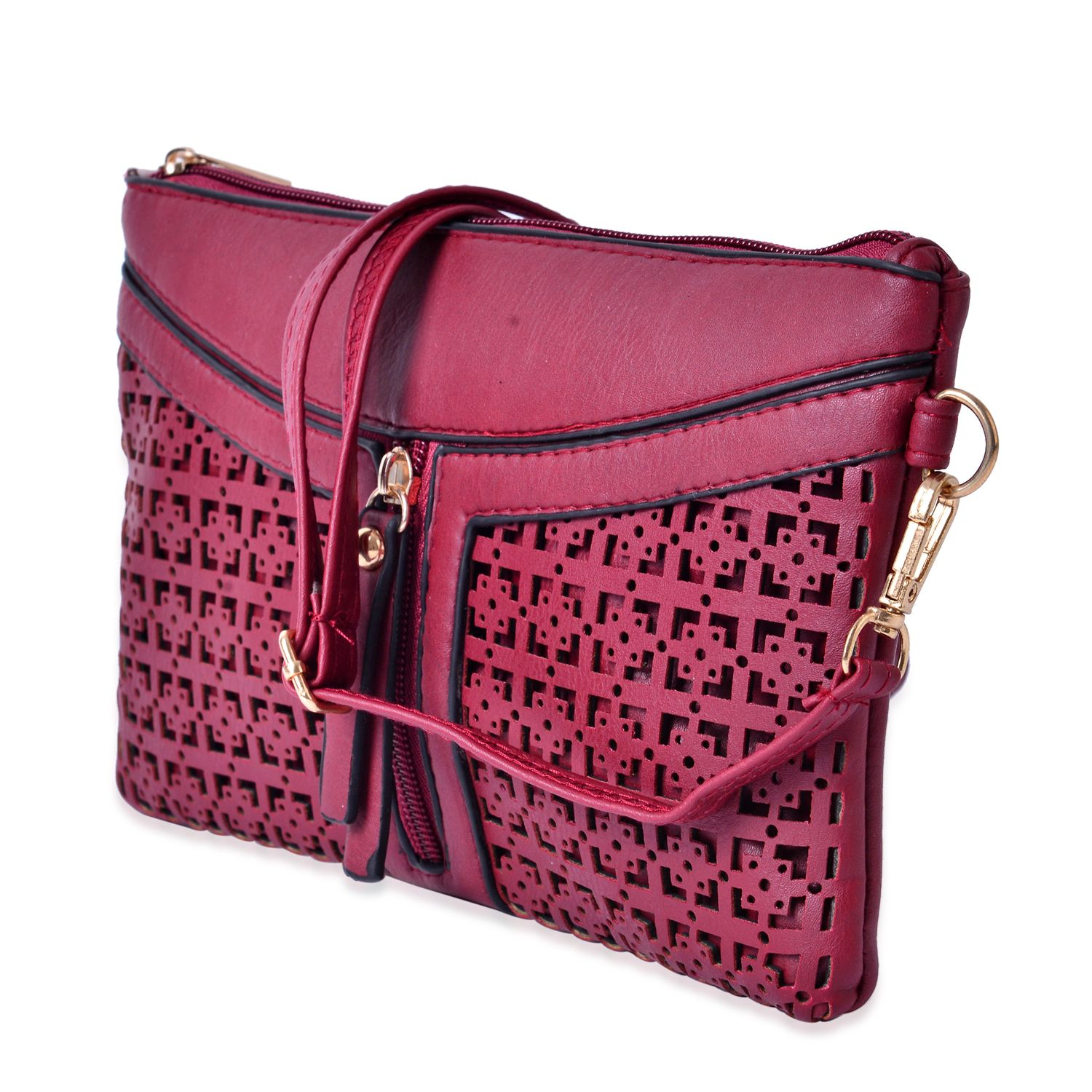 J Francis - Red Faux Leather Crossbody Bag (9x5.5 in)