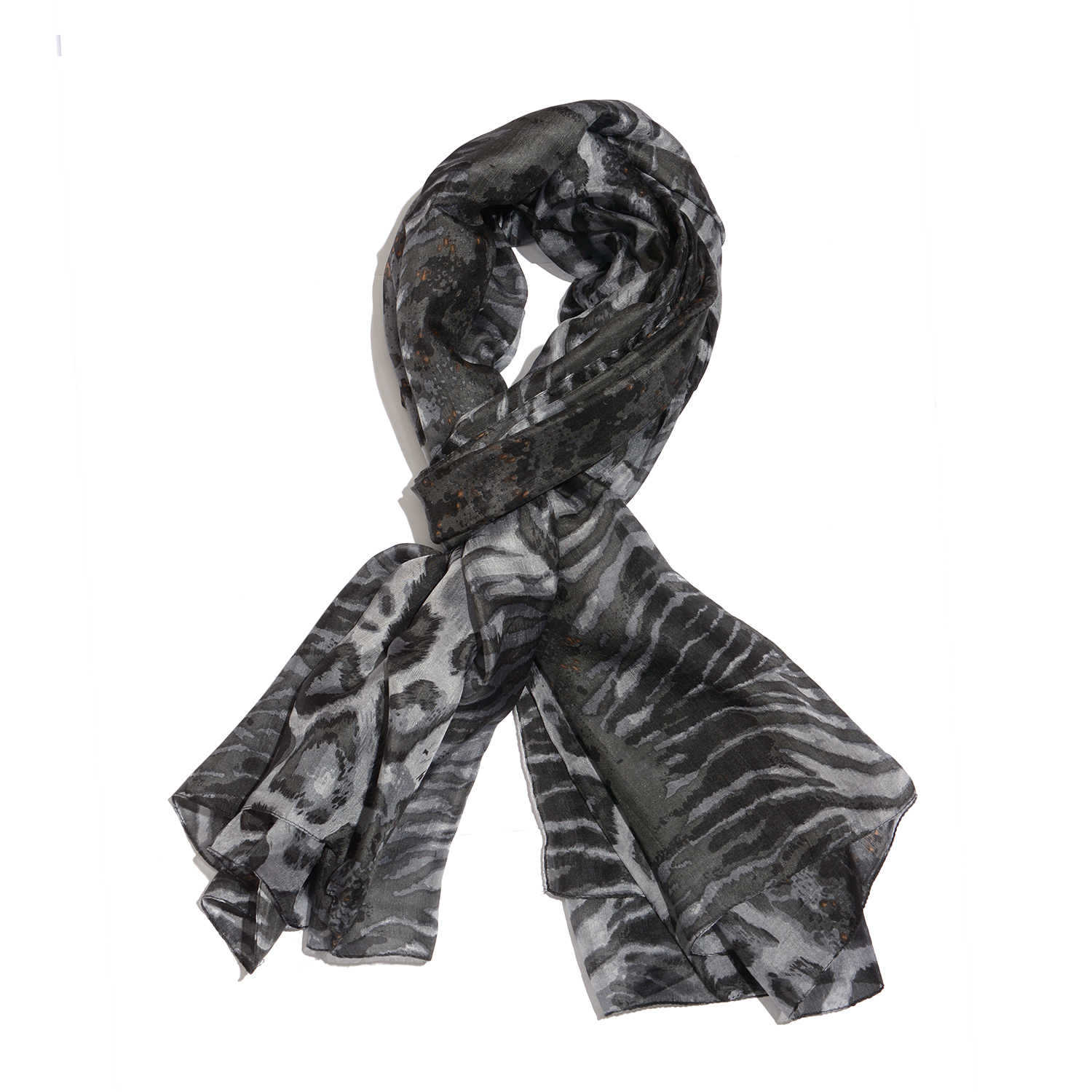 Black and White Animal Print 100% Natural Mulberry Silk Scarf (71x39 in)
